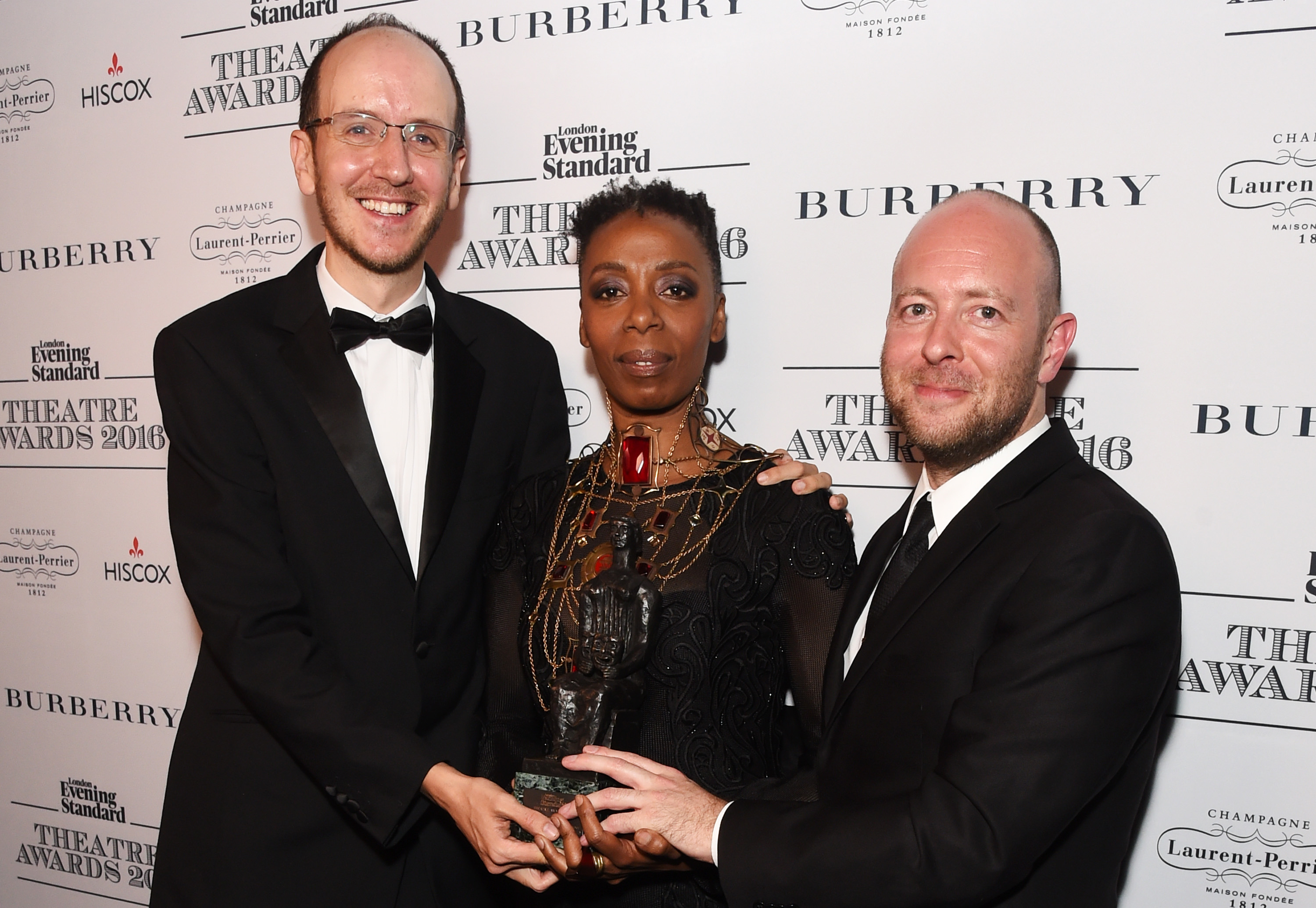 Playwright Jack Thorne, actress Noma Dumezweni and director John Tiffany, accepting the Best Play award with Hiscox for  Harry Potter And The Cursed Child , pose in front of the winners boards at The 62nd London Evening Standard Theatre Awards at The Old Vic Theatre on Nov. 13, 2016 in London.