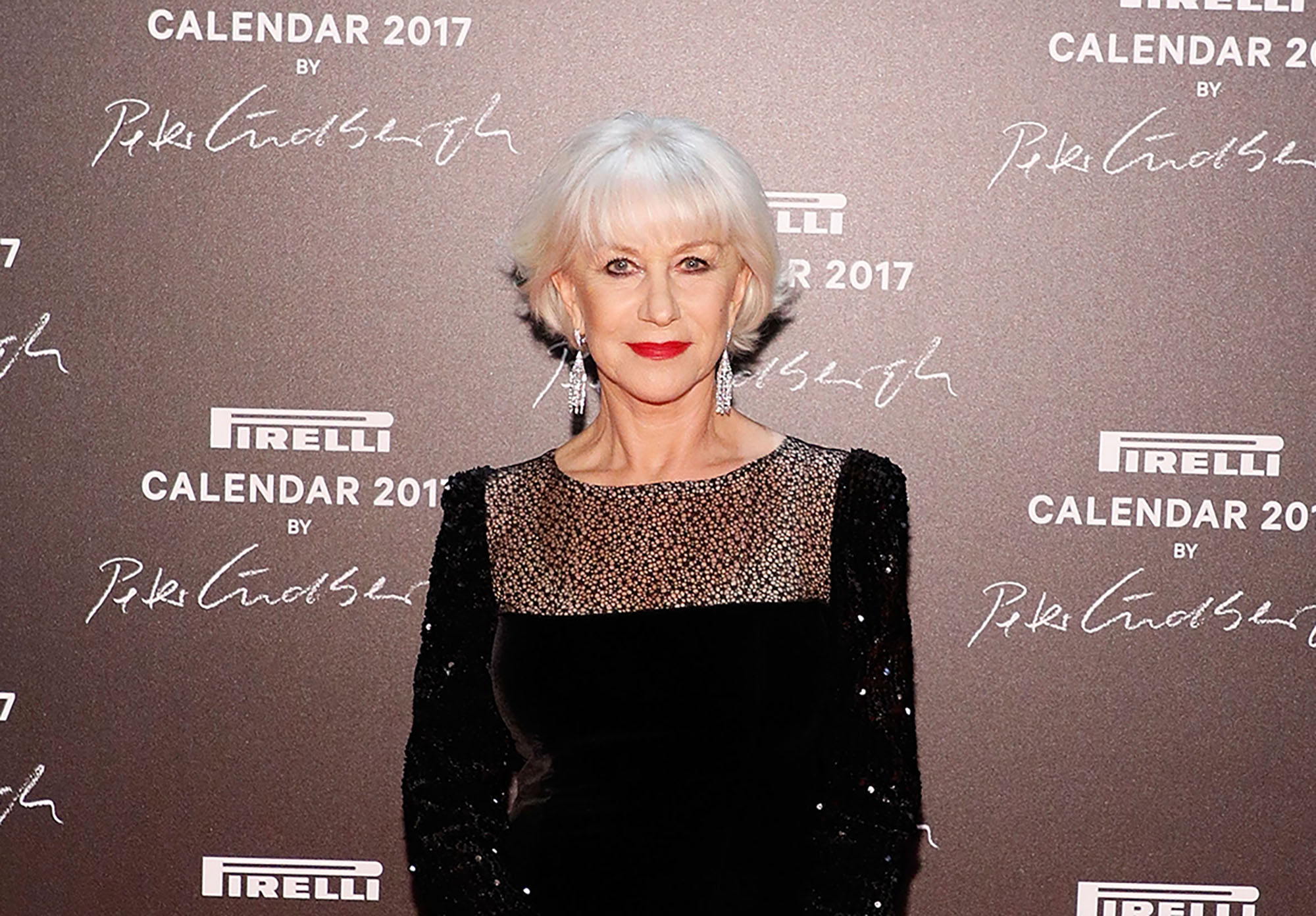 Helen Mirren attends the 2016 Pirelli Calendar unveiling gala at La Cite Du Cinema on November 29, 2016 in Saint-Denis, France.  (Photo by Taylor Hill/WireImage)