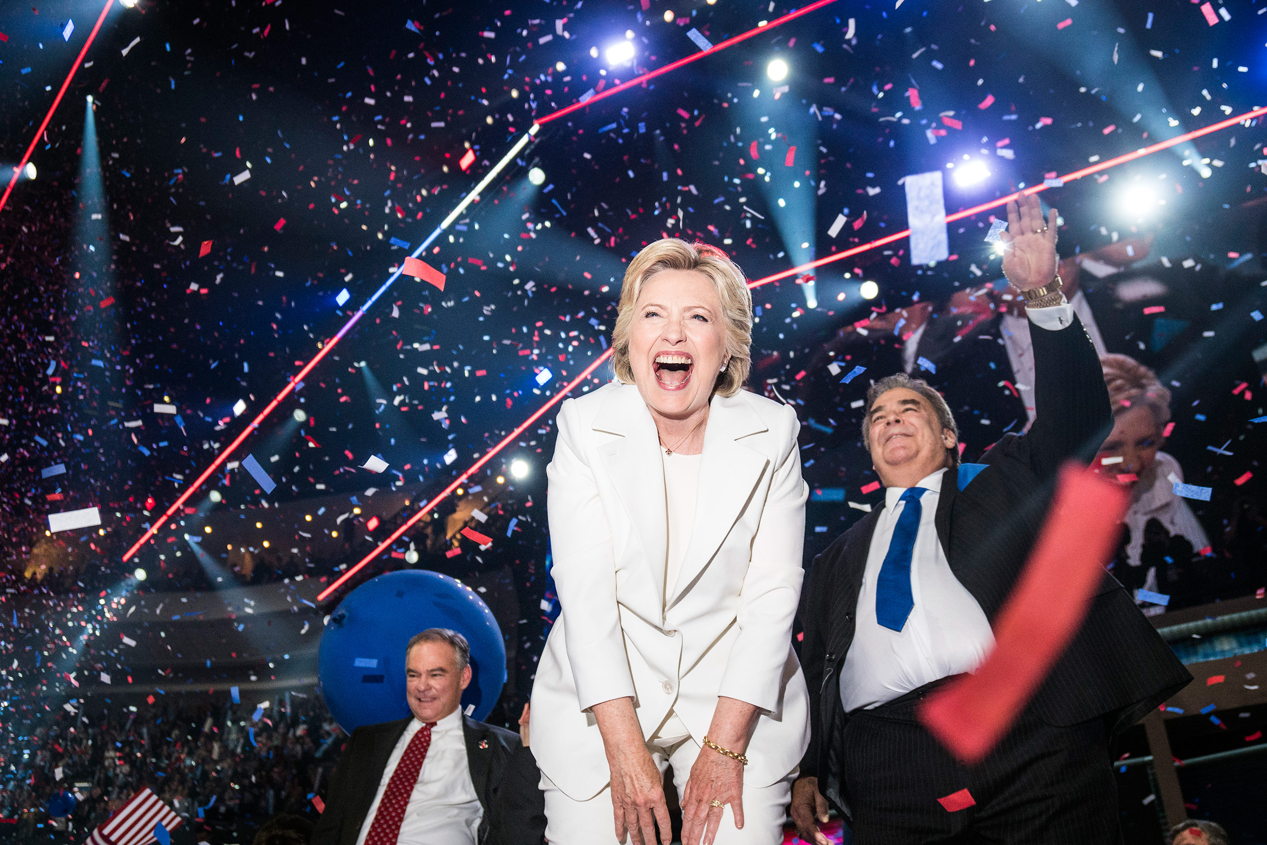 An ecstatic Hillary Clinton celebrates at the conclusion of the Democratic National Convention where she accepted the nomination in Philadelphia, on July 28, 2016.From  The 82 Most Unforgettable Photos From the Election