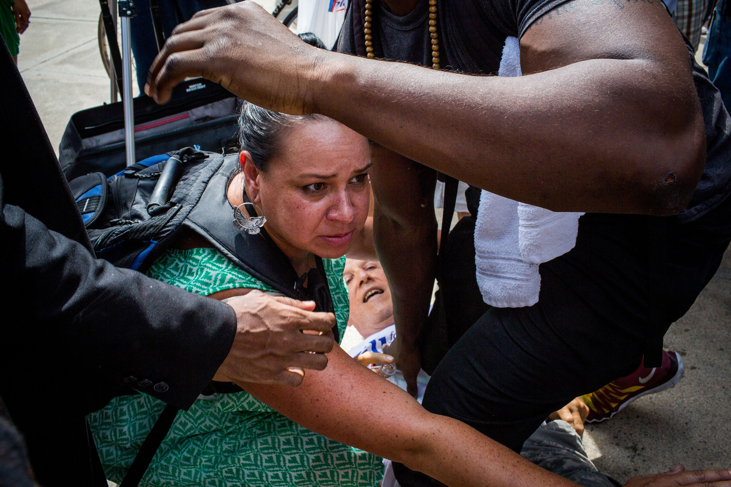 A fight between protestors at City Hall in Philadelphia to watch speaker Jill Stein and protest the Democratic National Convention at the Wells Fargo Center on July 26, 2016.From  The 82 Most Unforgettable Photos From the Election