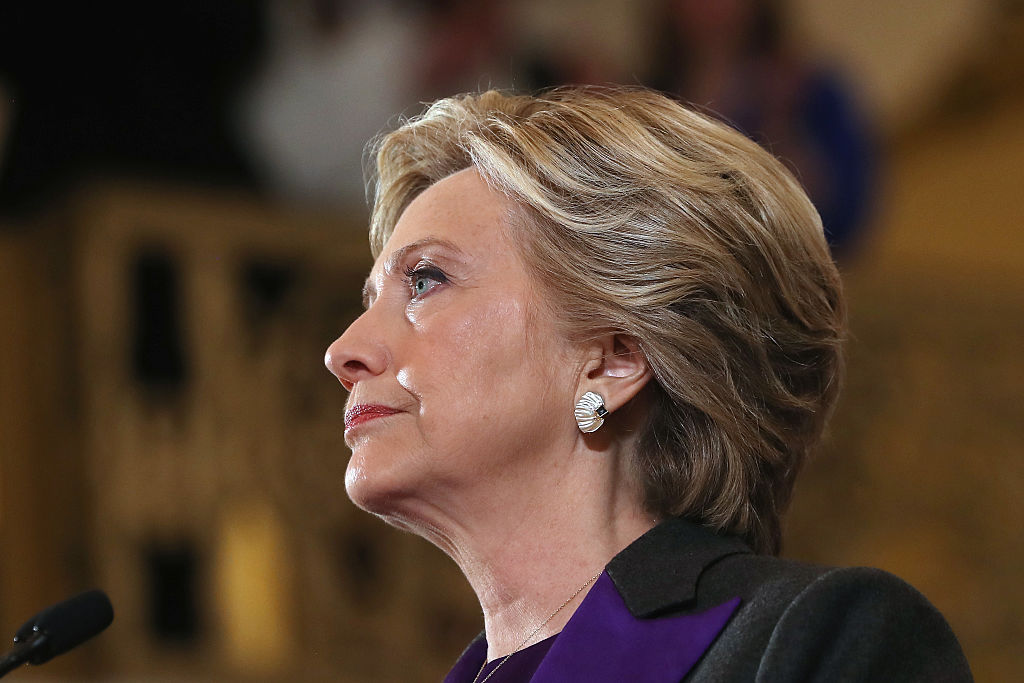 Hillary Clinton concedes the presidential election at the New Yorker Hotel on Nov. 9, 2016 in New York City.