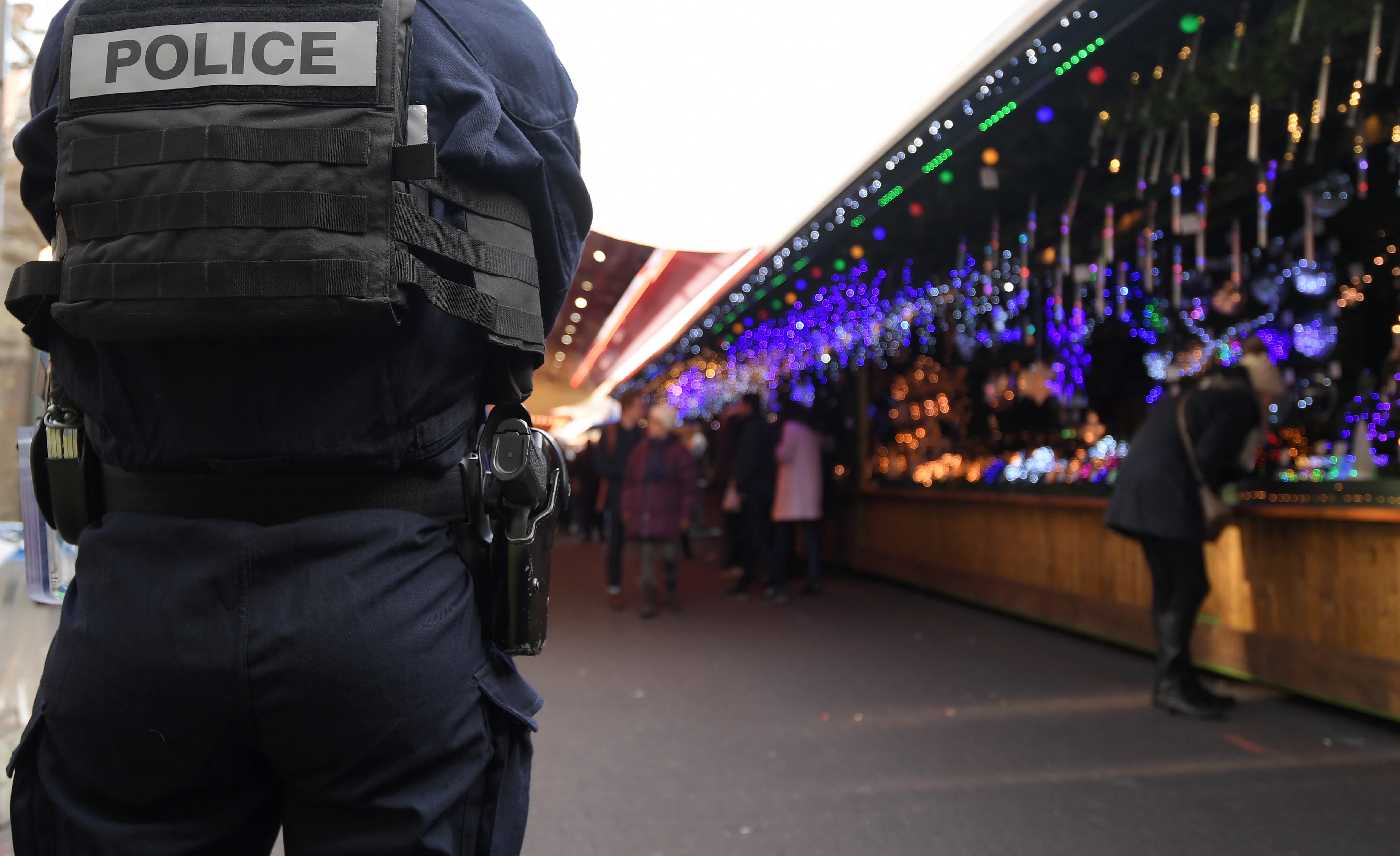 A police officer patrols on the Christmas market in Strasbourg, France, on Dec. 20, 2016.
