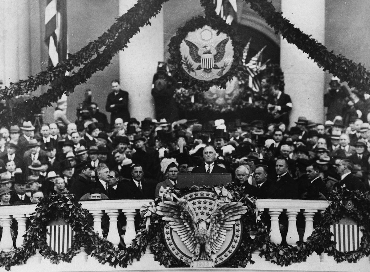 Franklin Delano Roosevelt (1882 - 1945) making his inaugural address as 32nd President of the USA, in 1933.