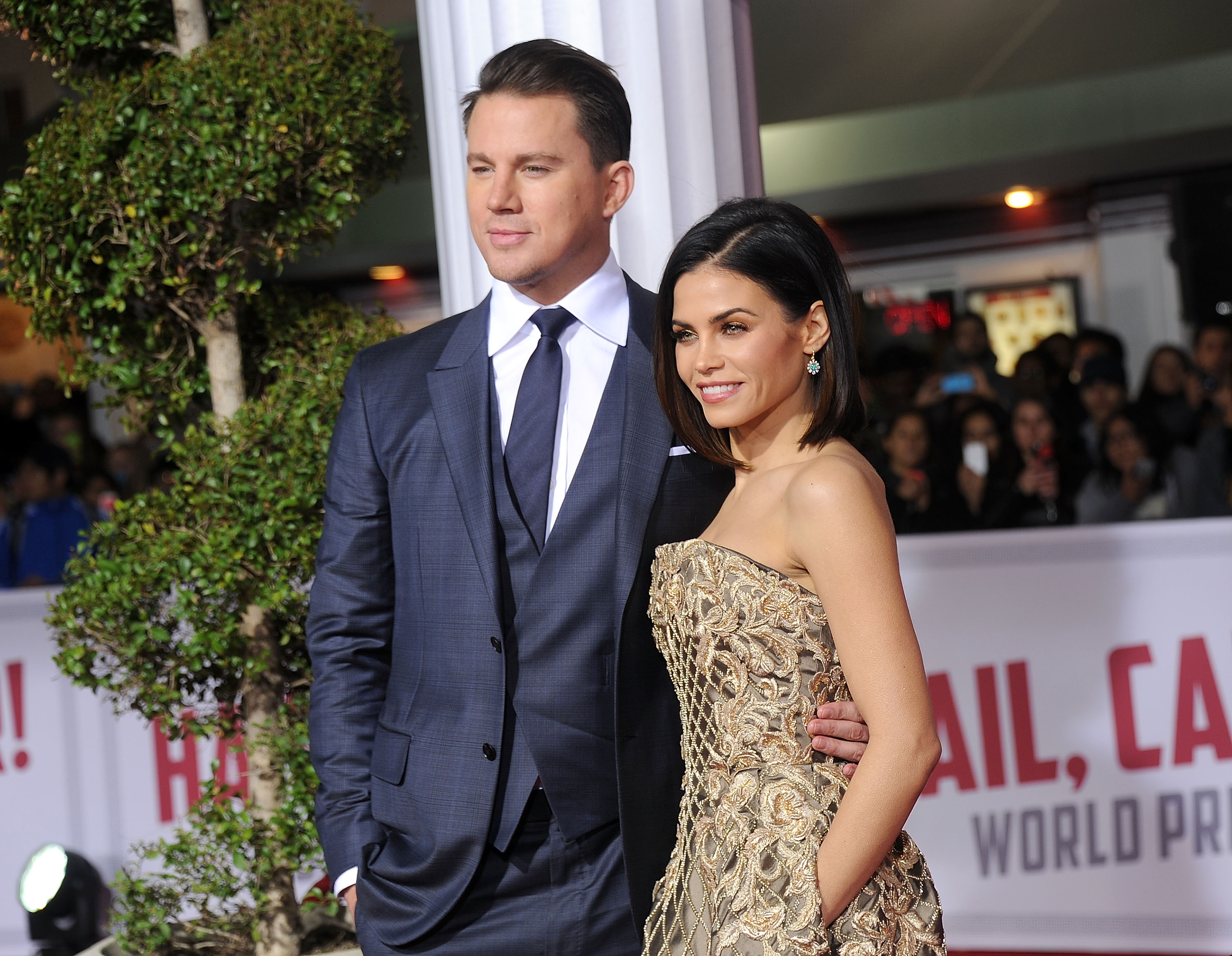 Actors Channing Tatum and Jenna Dewan Tatum arrive at the premiere of Universal Pictures'  Hail, Caesar!  at Regency Village Theatre on February 1, 2016 in Westwood, California.  (Photo by Gregg DeGuire/WireImage)