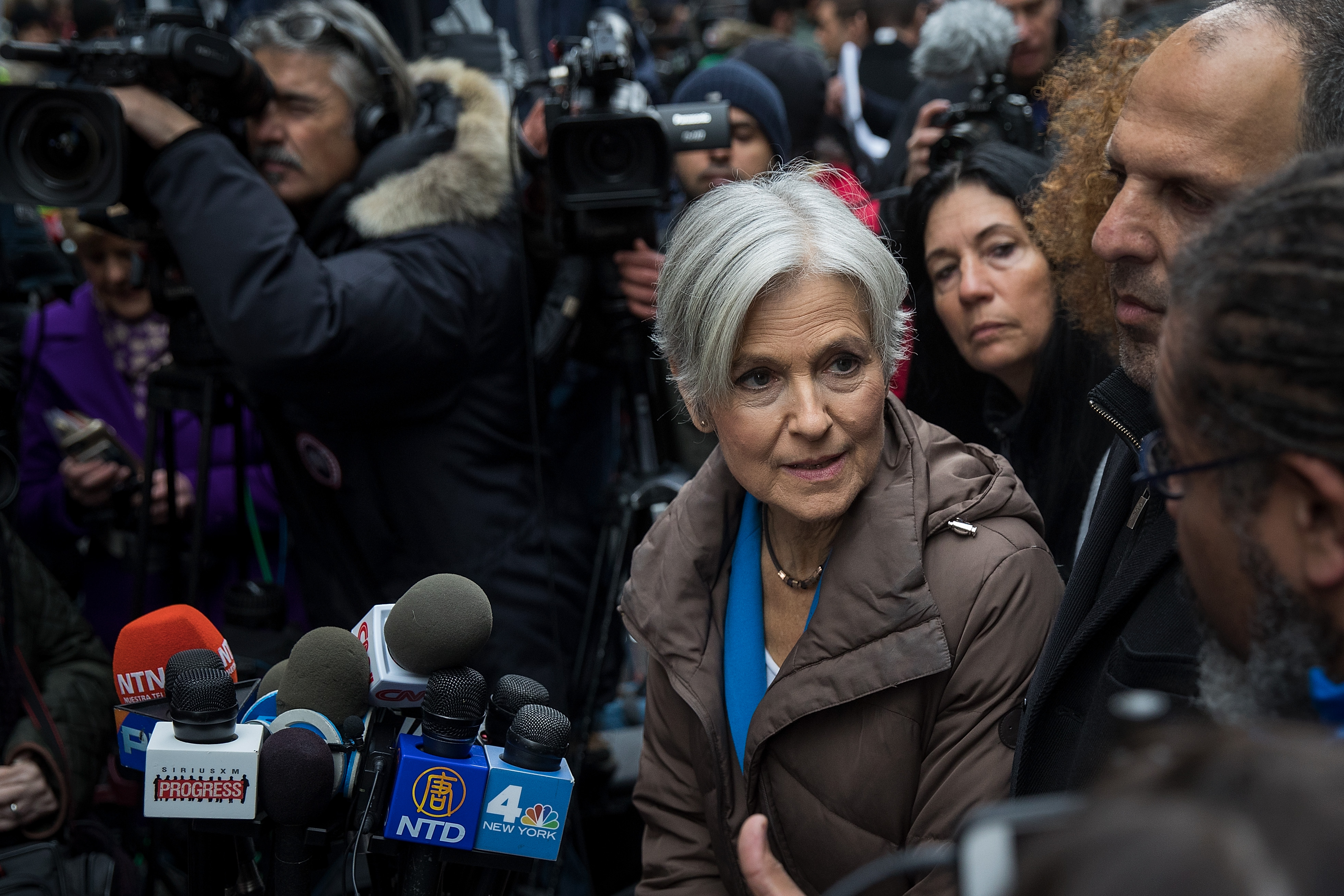 Green Party presidential candidate Jill Stein speaks at a news conference on Fifth Avenue across the street from Trump Tower December 5, 2016 in New York City.