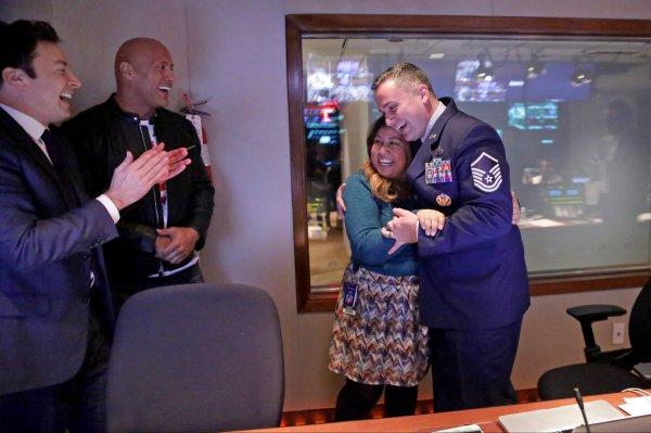 Jimmy Fallon Dwayne Johnson Surprise Military Family Time