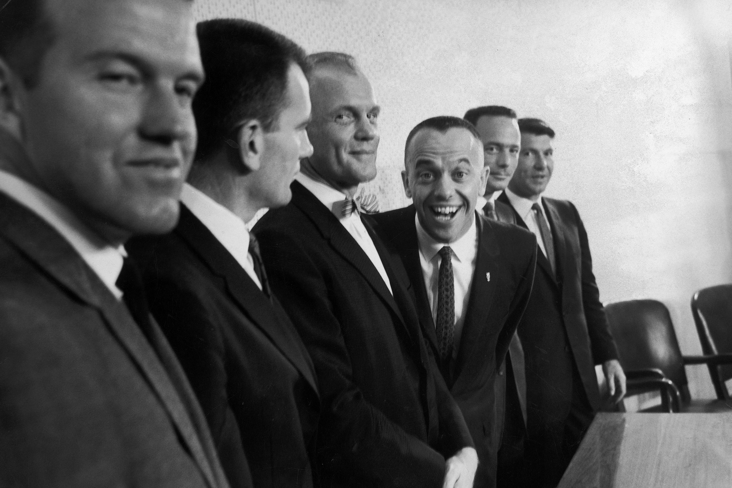 "<b>""Smilin' Al""</b> Astronaut Al Shepard alternated between being playful and frosty, earning him the alternating nicknames Smilin' Al and the Ice Commander. Here, in 1961, he shows his goofier side as Glenn, controlled as always, betrays a bemused smile."