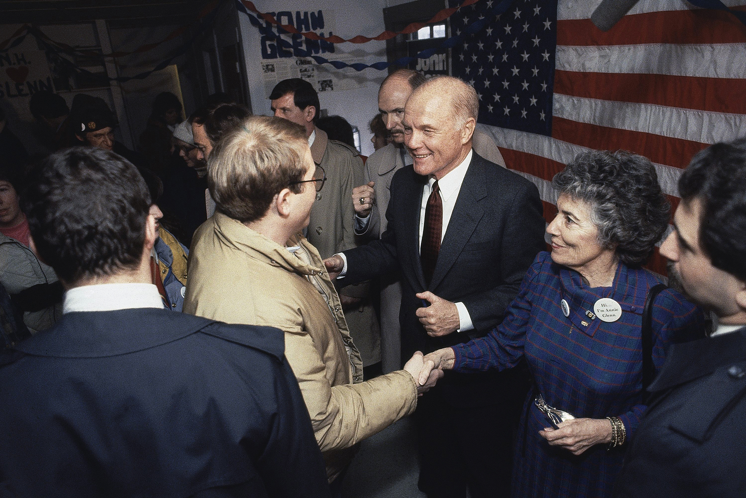 <b>A Run for the Highest Office (on Earth)</b>                                   A presidential candidate in 1984, Glenn campaigned with his wife Annie in New Hampshire. Though his Senate wins came easily after his first victory, Glenn proved a harder sell to a national electorate, mostly because of his dry — the media would call it boring — campaign style.