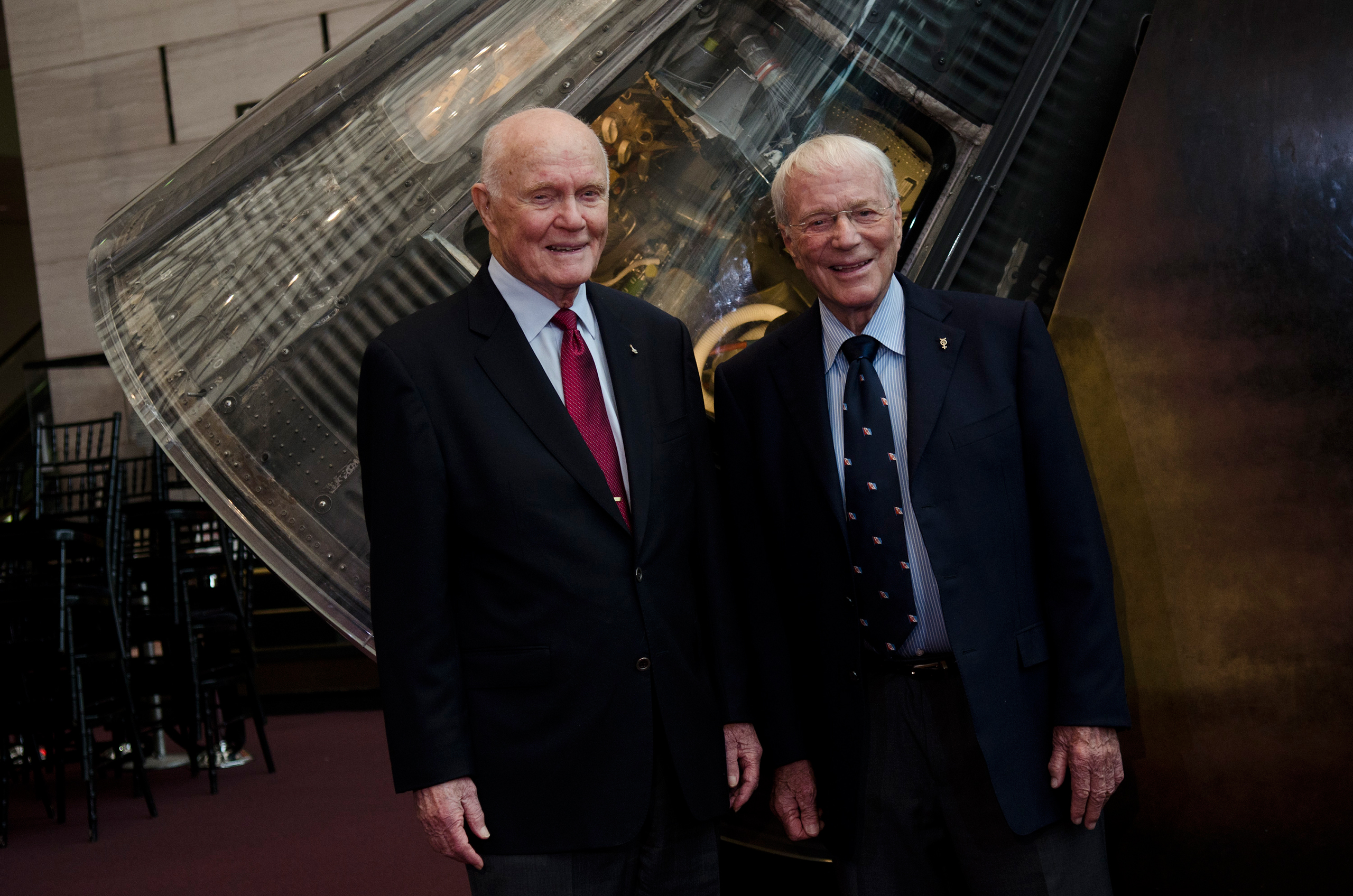 "<b>Space Veterans</b> Glenn and Carpenter, the last two survivors of the Original Seven, at the National Air and Space Museum in Washington in June 2011. A few weeks later, on July 8, the U.S. launched its last shuttle mission. Glenn mourned the end of the program, telling CBS, ""We will not have our own means of getting into space, which I think is too bad. I don't like this at all."" But the veteran astronaut did not believe the end of the shuttle would mean the end of America's space program: ""I think we've had 50 years' job well done, but that's just the precursor to even greater things in the future."""