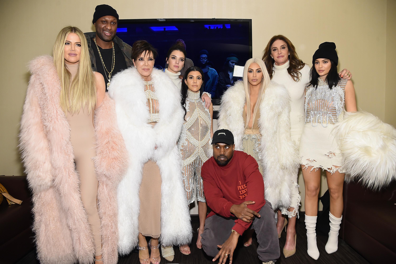 Khloe Kardashian, Lamar Odom, Kris Jenner, Kendall Jenner, Kourtney Kardashian, Kanye West, Kim Kardashian, Caitlin Jenner and Kylie Jenner attend Kanye West Yeezy Season 3 on February 11, 2016 in New York City.
