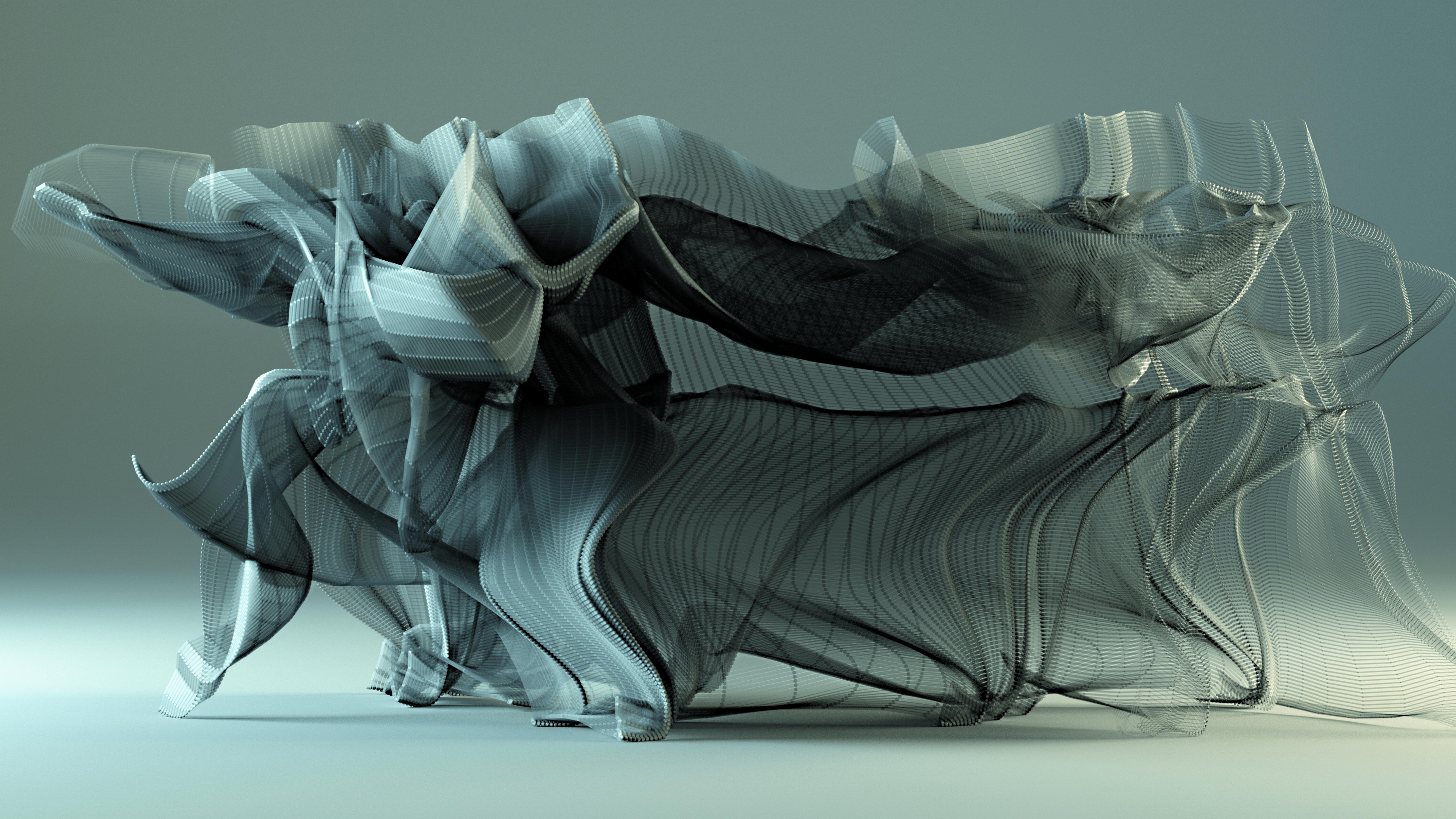 Still from video of motion visualization at 300 Years of Hakka Kung Fu exhibit at City University of Hong Kong.