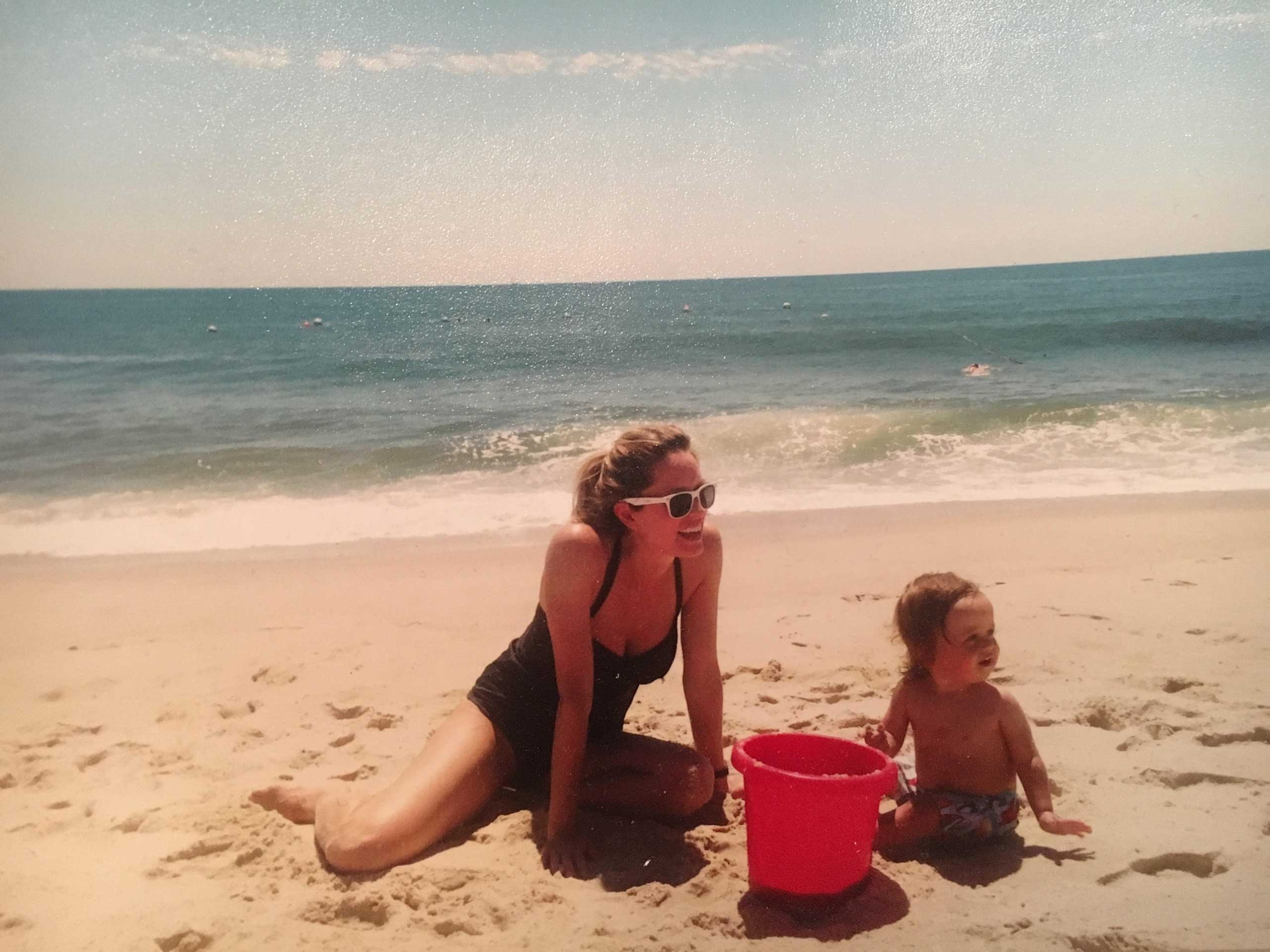 Shannon and Arthur at the beach in Long Island, 2014. Photographed using the Yashica T4 Super camera.