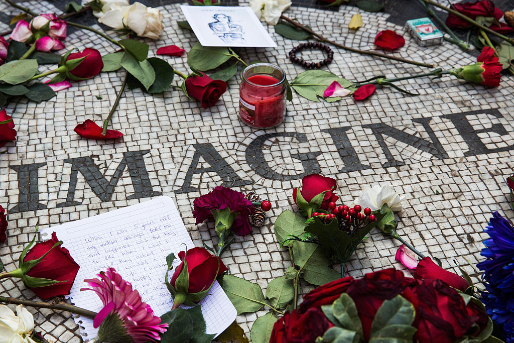 Memorabilia sits a top the  Strawberry Fields  tile mosaic in Central Park, which was created in tribute to the late musician John Lennon, to mark the 35-year anniversary of his death on December 8, 2015 in New York City.