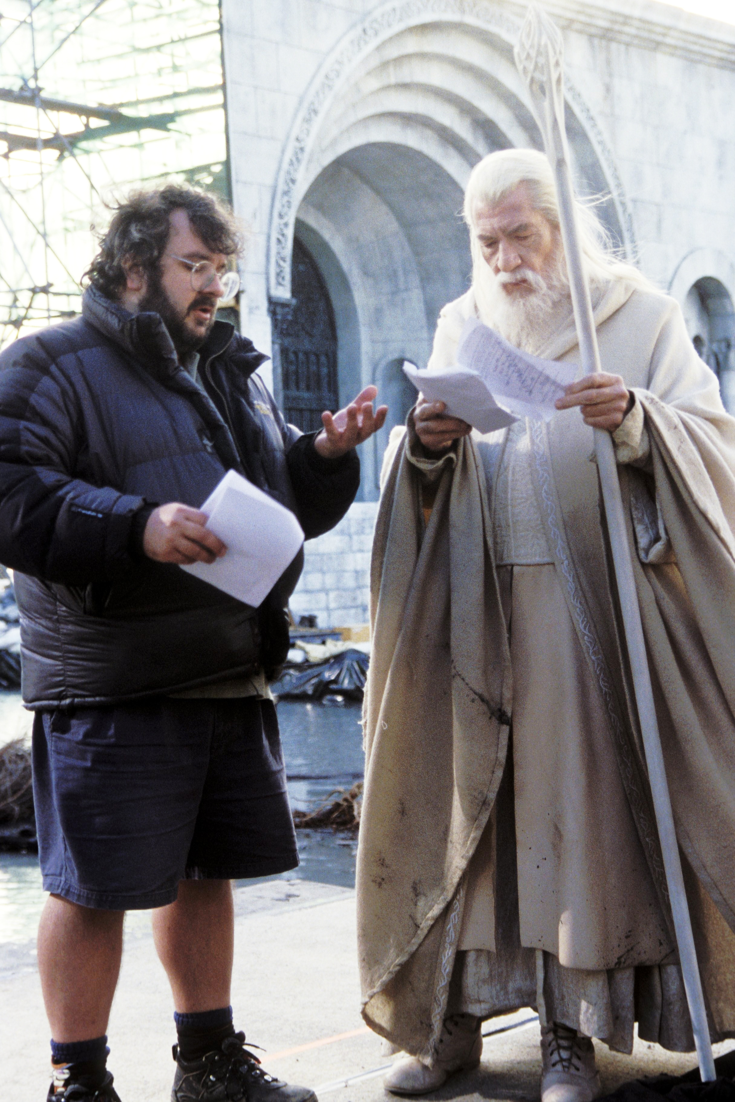 Peter Jackson and Ian McKellen filming The Lord of the Rings: The Return of the King, 2003.
