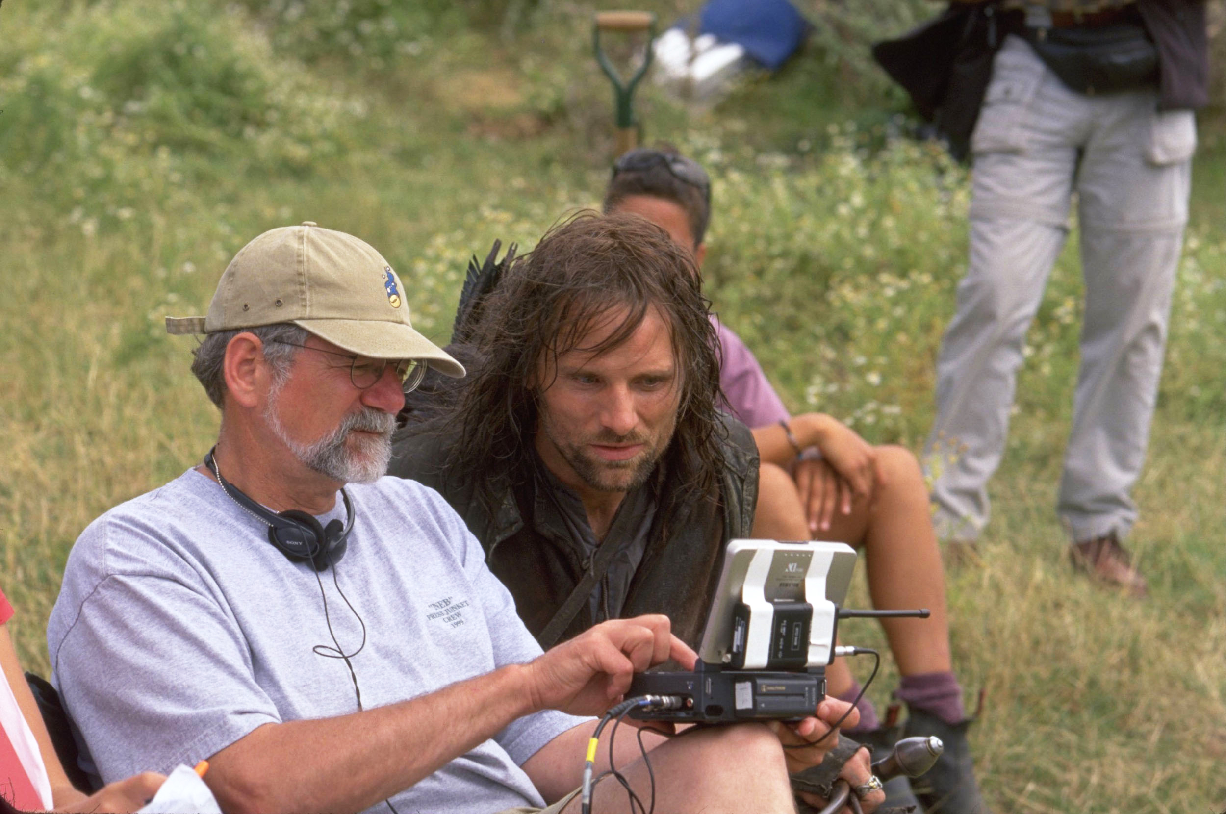 Viggo Mortensen, right, filming The Lord of the Rings: The Two Towers, 2002.
