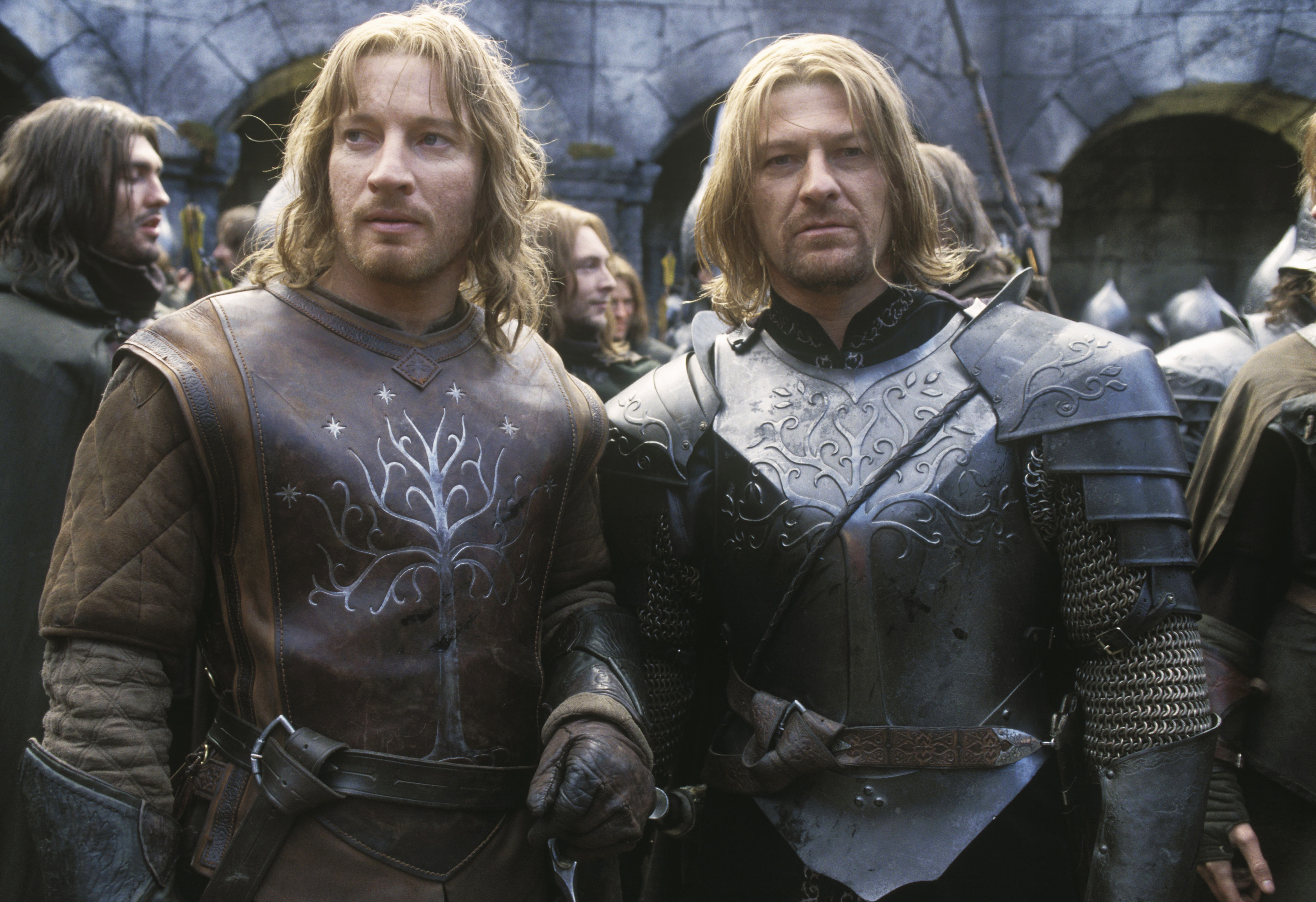 Sean Bean and David Wenham filming The Lord of the Rings: The Two Towers, 2002.