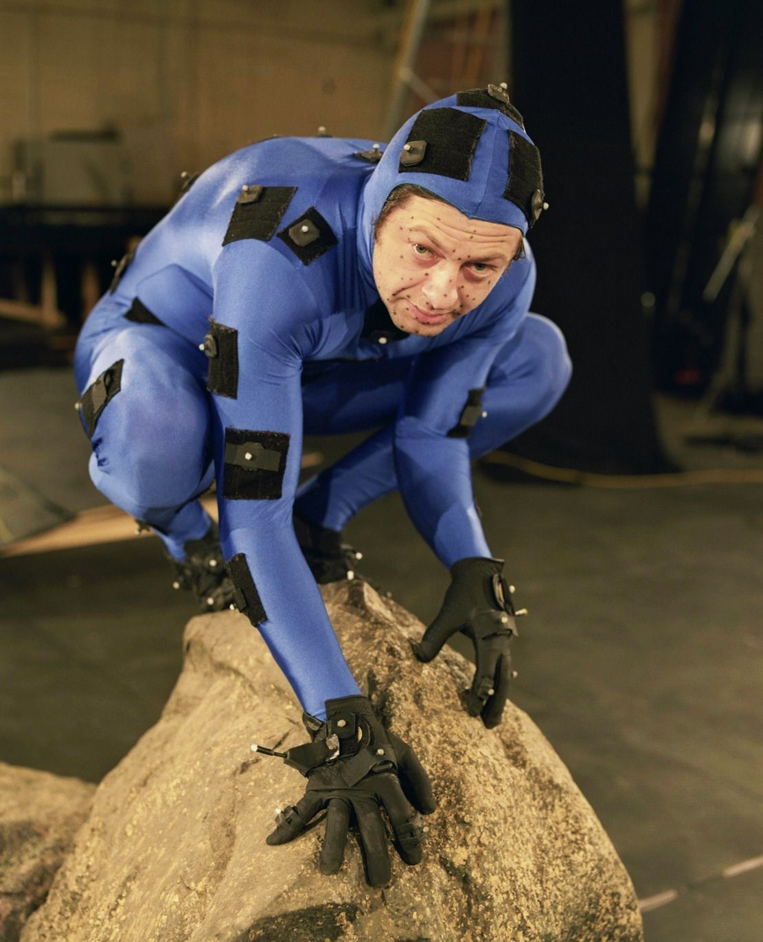 Andy Serkis as Gollum filming The Lord of the Rings: The Two Towers, 2002.