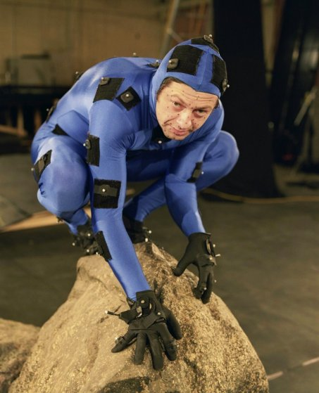Andy Serkis as Gollum filming The Lord of the Rings: The Two Towers.