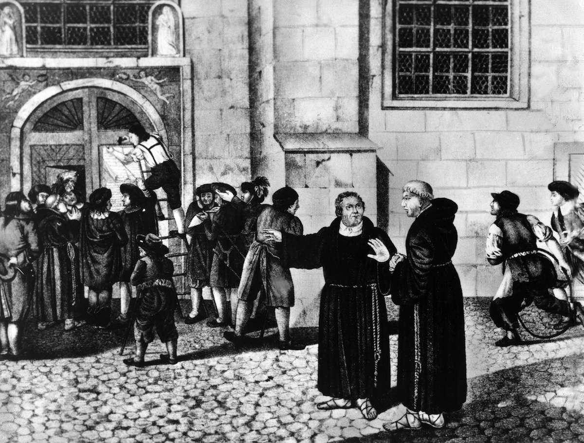 An illustration of the posting of Martin Luther's Ninety-Five Theses at the Castle Church in Wittenberg