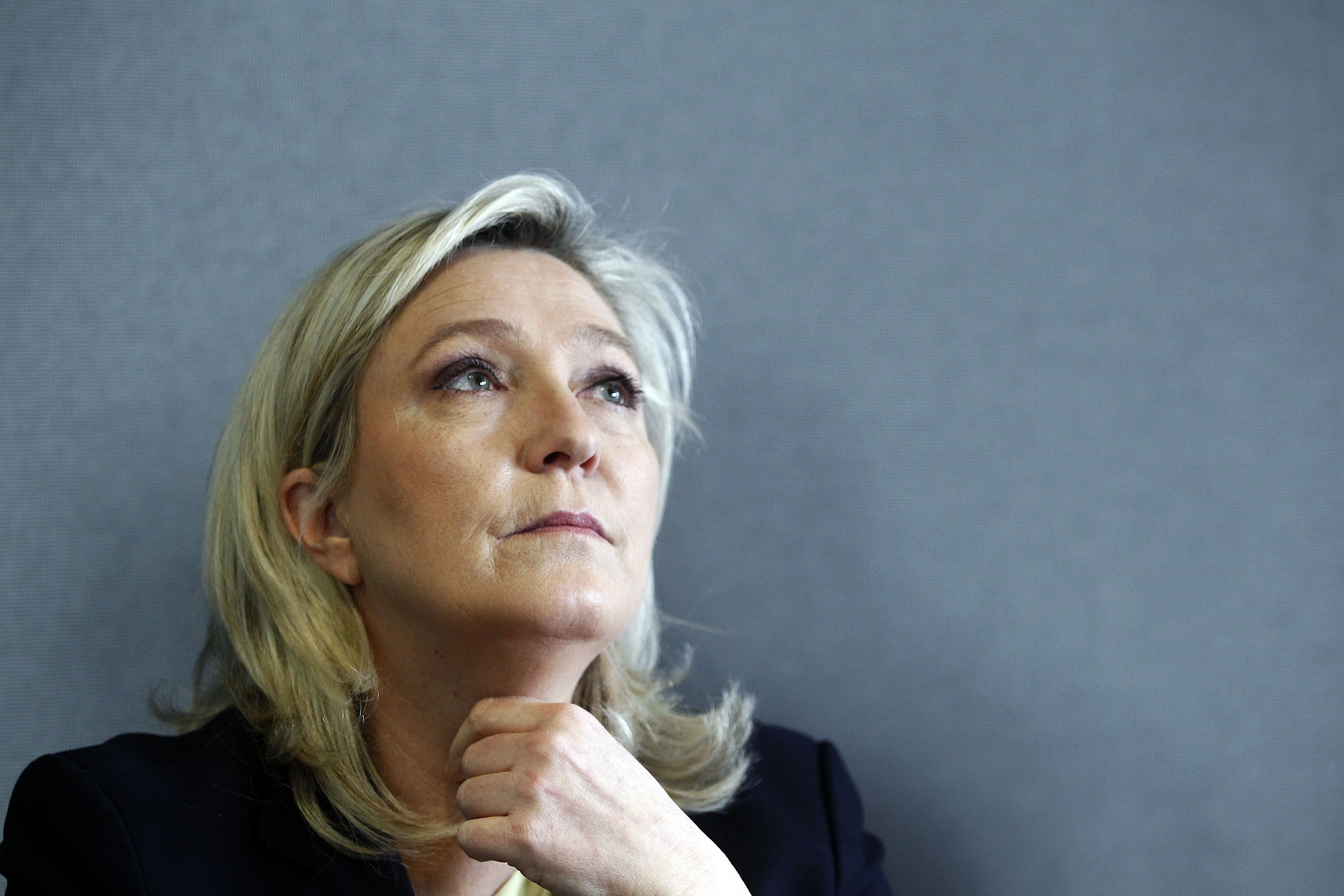 Marine Le Pen  attends a news conference on March 7, 2016 in Paris.