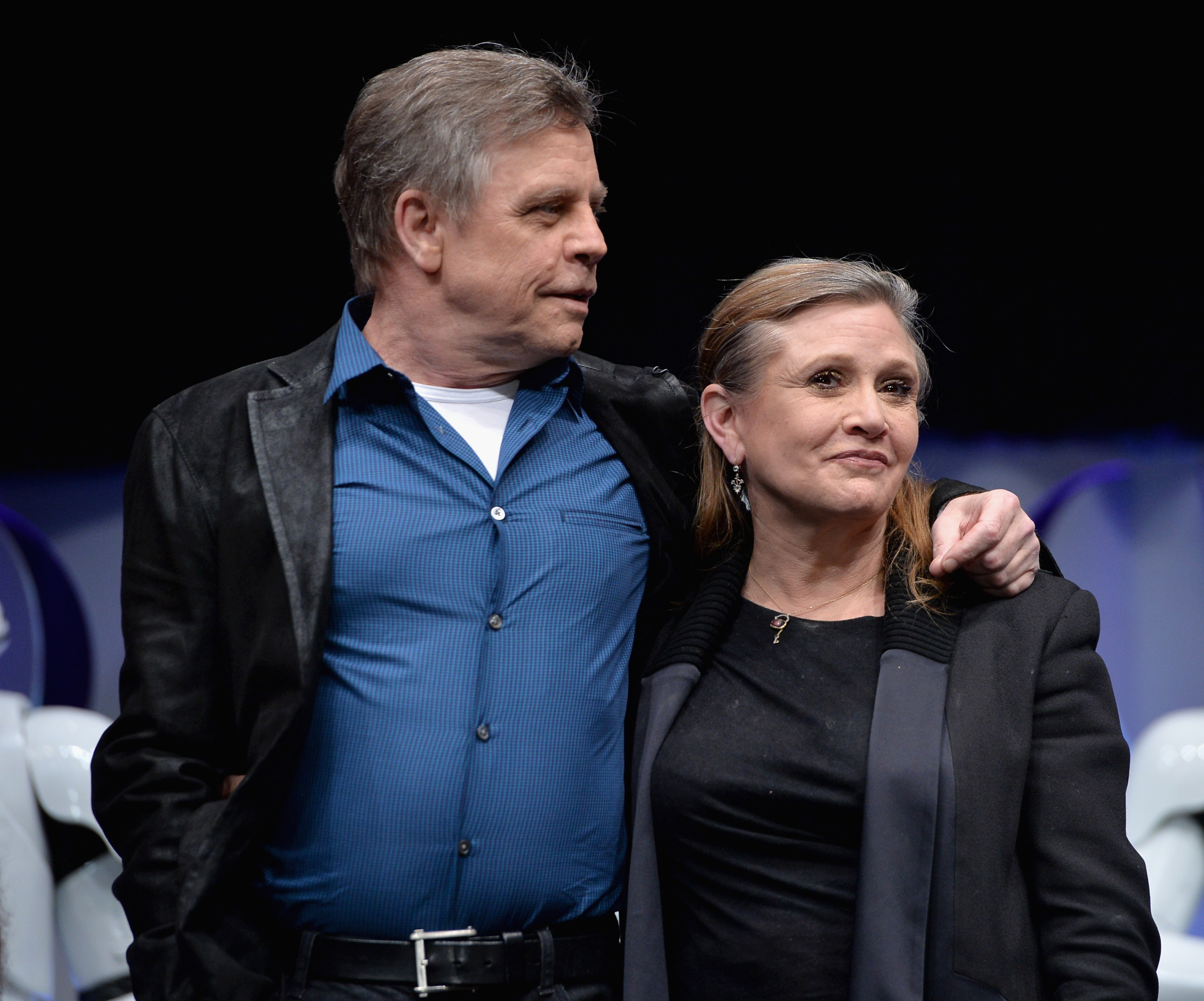 Actors Mark Hamill (L) and Carrie Fisher speak onstage during Star Wars Celebration 2015 on April 16, 2015 in Anaheim, California.