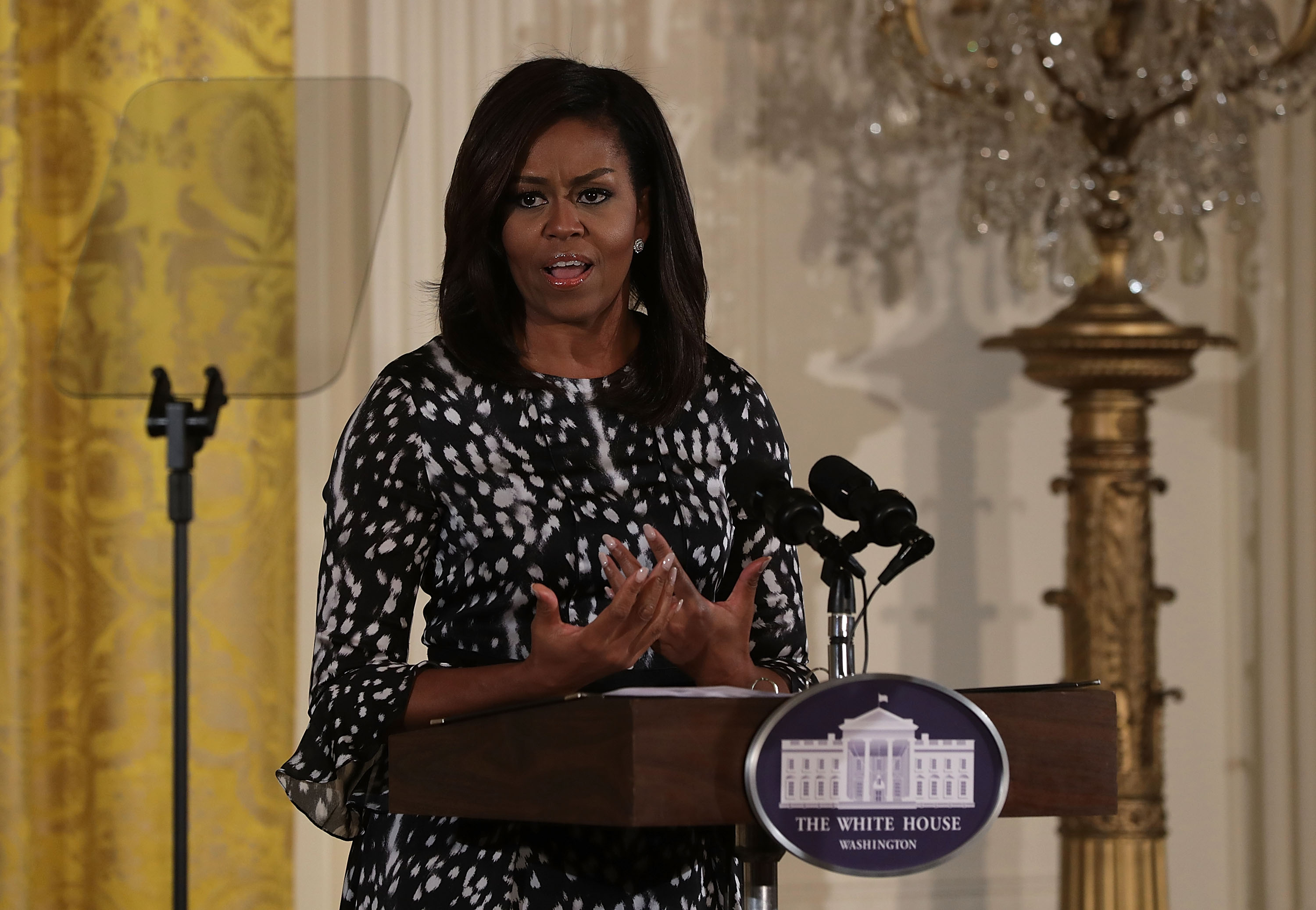 U.S. First Lady Michelle Obama speaks during an event to celebrate 20th Century Art in the White House October 14, 2016 in Washington, DC.