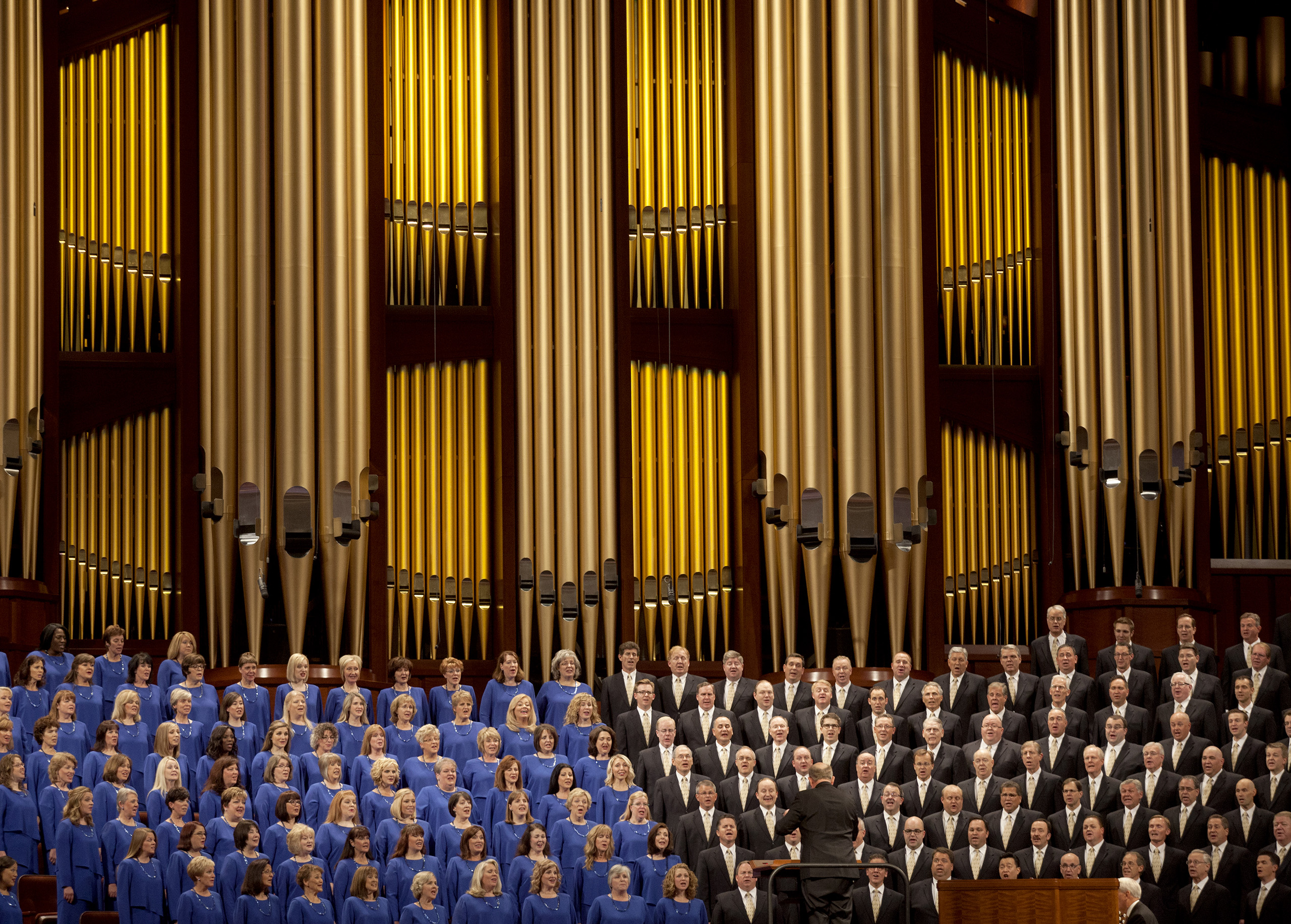 The Mormon Tabernacle Choir sings during the opening session of the two-day Mormon church conference on Saturday, Oct. 3, 2015, in Salt Lake City.