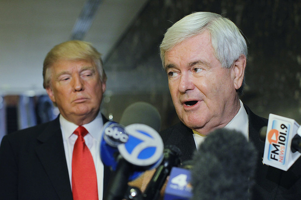 Newt Gingrich (R) speaks to the media as Donald Trump listens at Trump Tower following a meeting between the two on Dec. 5, 2011 in New York City.