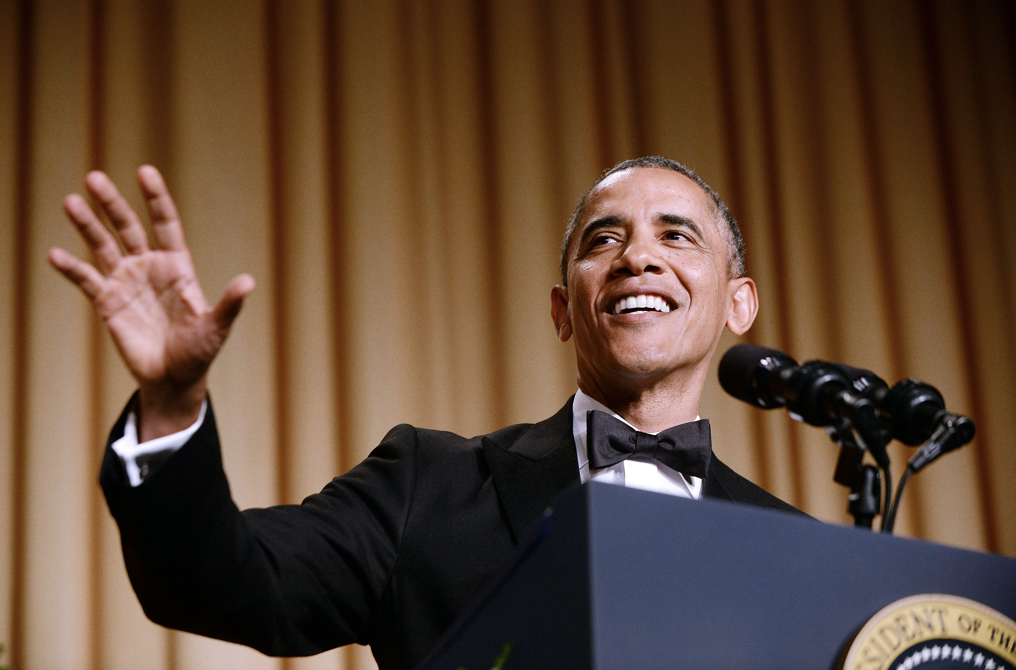 WASHINGTON, DC - MAY 3: (AFP OUT)  US President Barack Obama speaks at the annual White House Correspondent's Association Gala at the Washington Hilton hotel May 3, 2014 in Washington, D.C. The dinner is an annual event attended by journalists, politicians and celebrities. (Photo by Olivier Douliery-Pool/Getty Images)