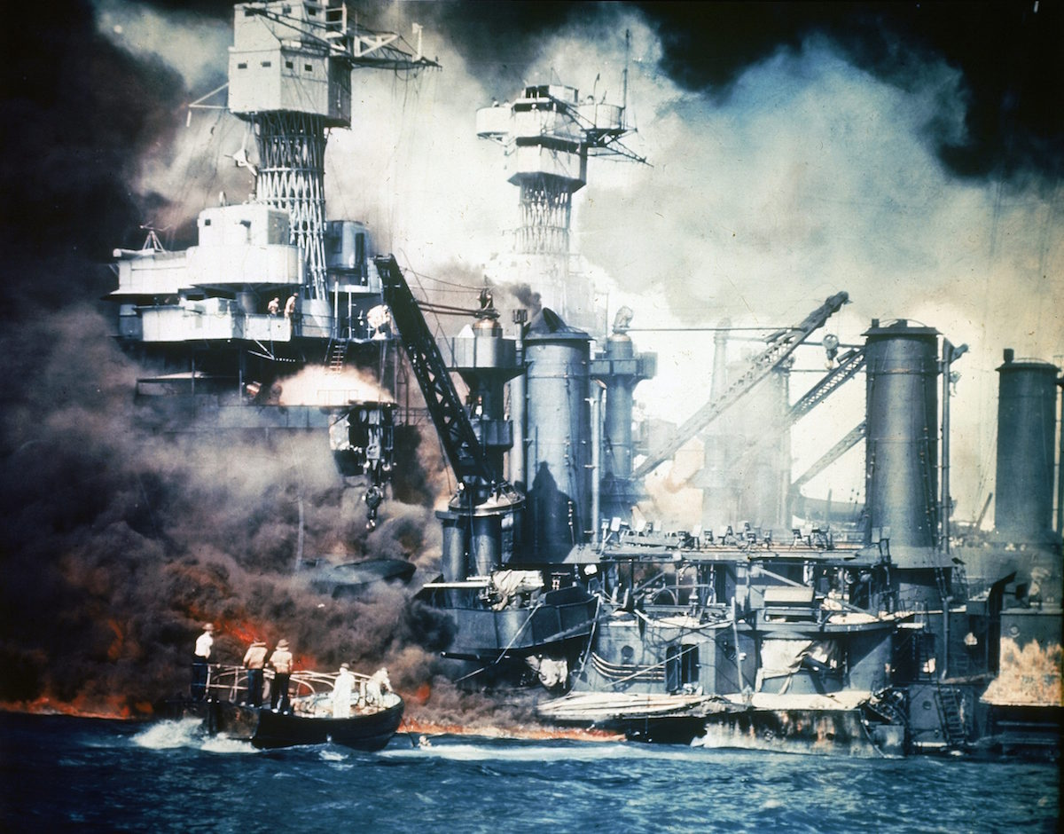 Japanese attack on the U.S. Naval base at Pearl Harbor; Dec. 7, 1941.