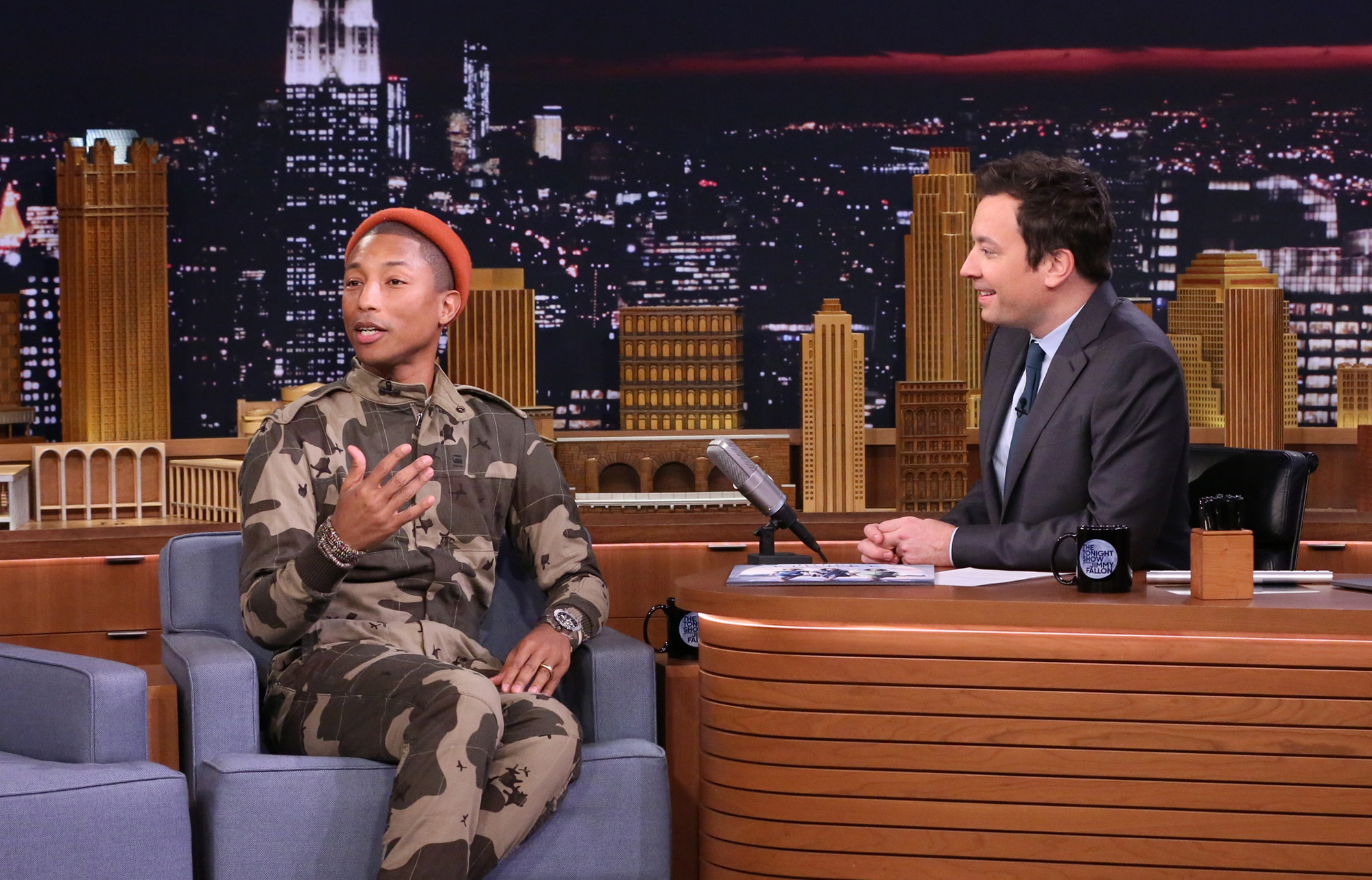Pharrell Williams during an interview with host Jimmy Fallon on The Tonight Show on December 08, 2016 -- (Photo by: Andrew Lipovsky/NBC/NBCU Photo Bank via Getty Images)