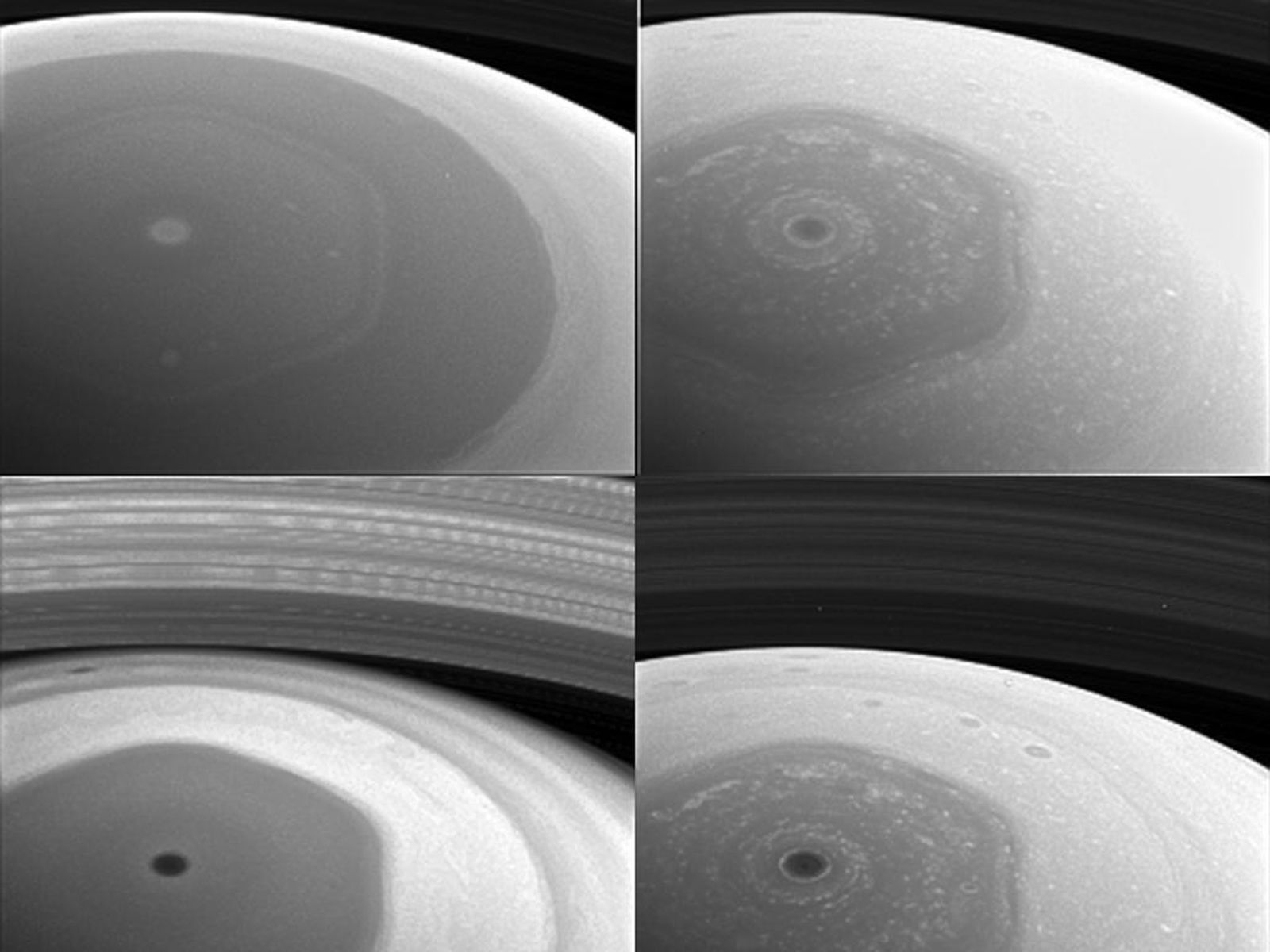 This collage of images from NASA's Cassini spacecraft shows Saturn's northern hemisphere and rings as viewed with four different spectral filters.