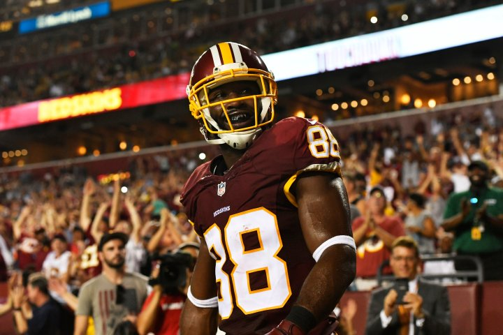 Pierre Garcon of the Washington Redskins, on Aug. 26, 2016 in Landover, Md.