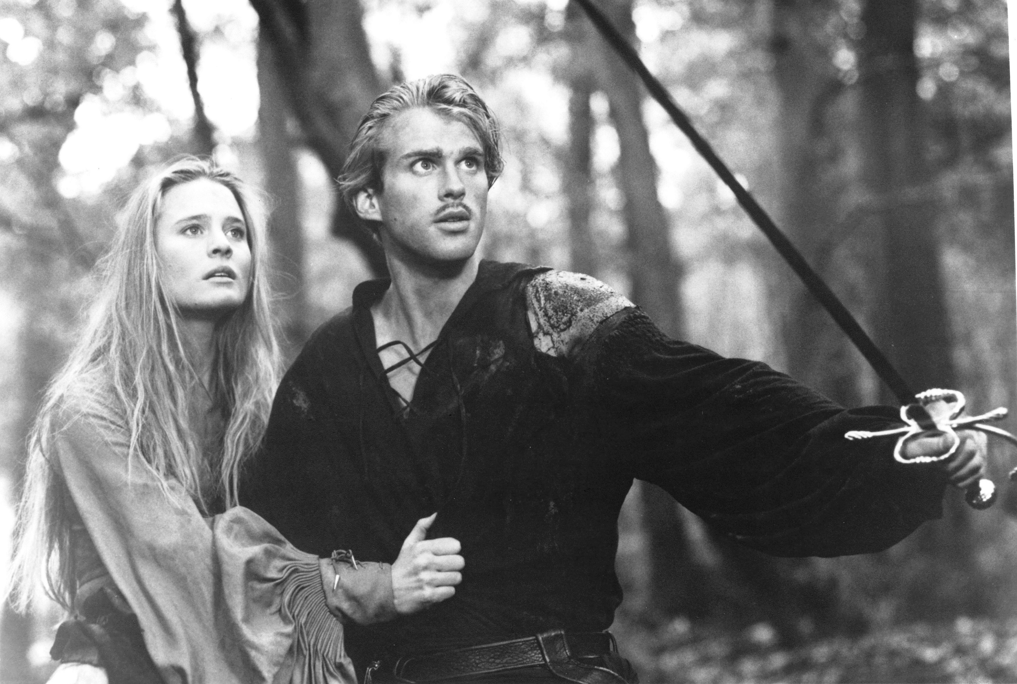 Westley (Cary Elwes) defends Princess Buttercup (Robin Wright) from Prince Humperdink's henchman in  The Princess Bride.