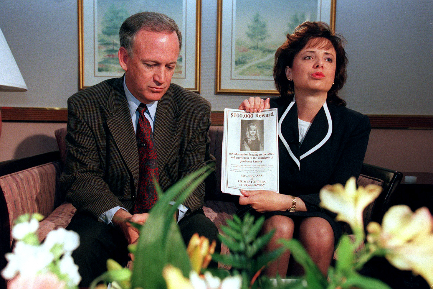 John and Patsy Ramsey meet with media after four months of silence, in Boulder, CO, on May 1, 1997.