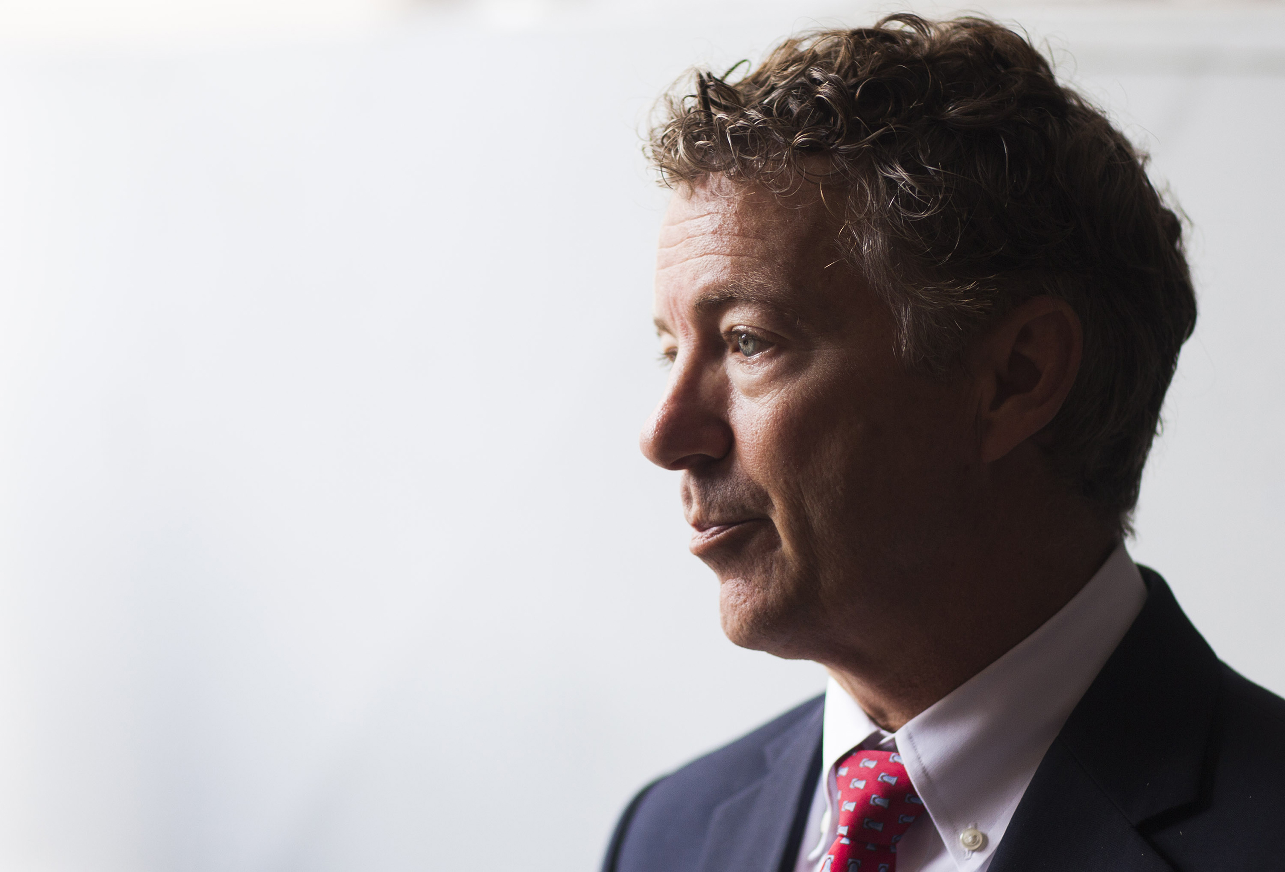 Sen. Rand Paul answers questions from the media after speaking to students at Western Kentucky University on Monday, Oct. 3, 2016, in the Grise Hall auditorium in Bowling Green, Ky.