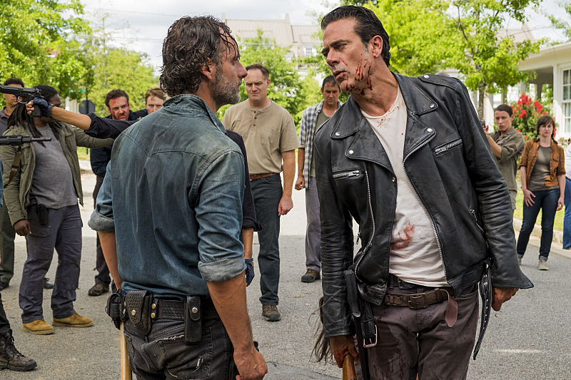 Ross Marquand as Aaron, Andrew Lincoln as Rick Grimes, Christian Serratos as Rosita Espinosa, Jeffrey Dean Morgan as Negan - The Walking Dead _ Season 7, Episode 8