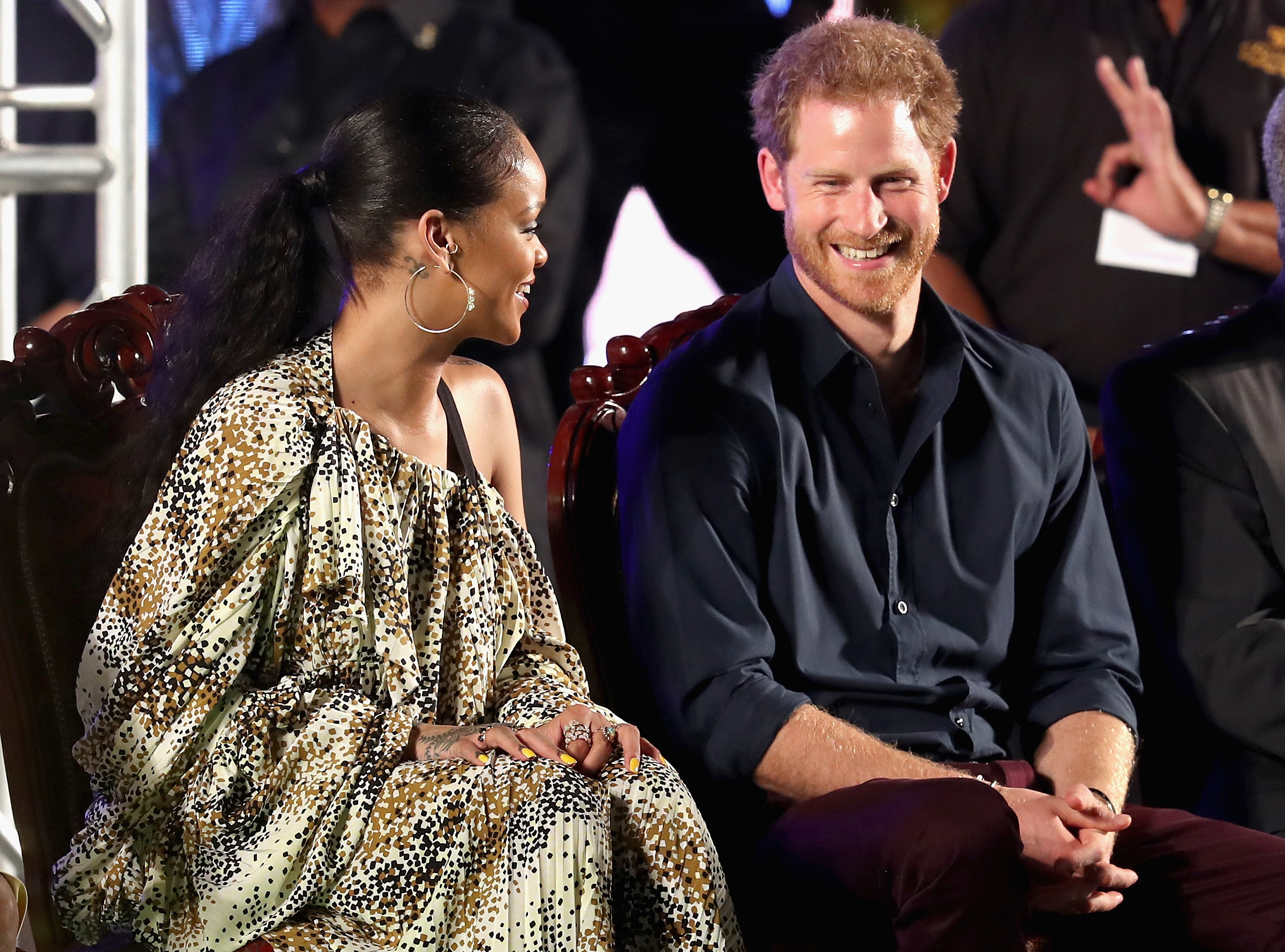 Prince Harry and singer Rihanna attend a concert at the Kensington Oval Cricket Ground on day 10 of an official visit to the Caribbean on November 30, 2016 in  Bridgetown, Barbados.