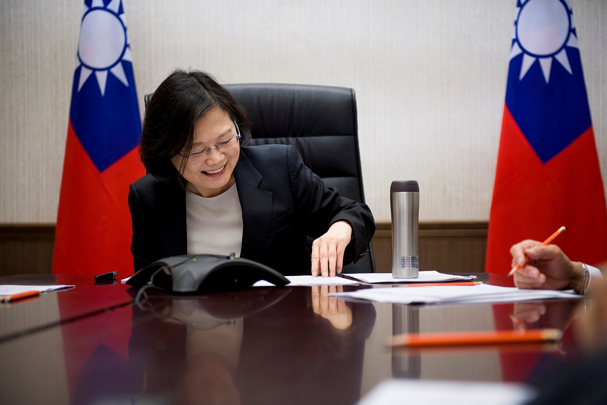 Taiwan's President Tsai Ing-wen speaks on the phone with U.S. President-elect Donald Trump at her office in Taipei, in this handout photo made available Dec. 3, 2016