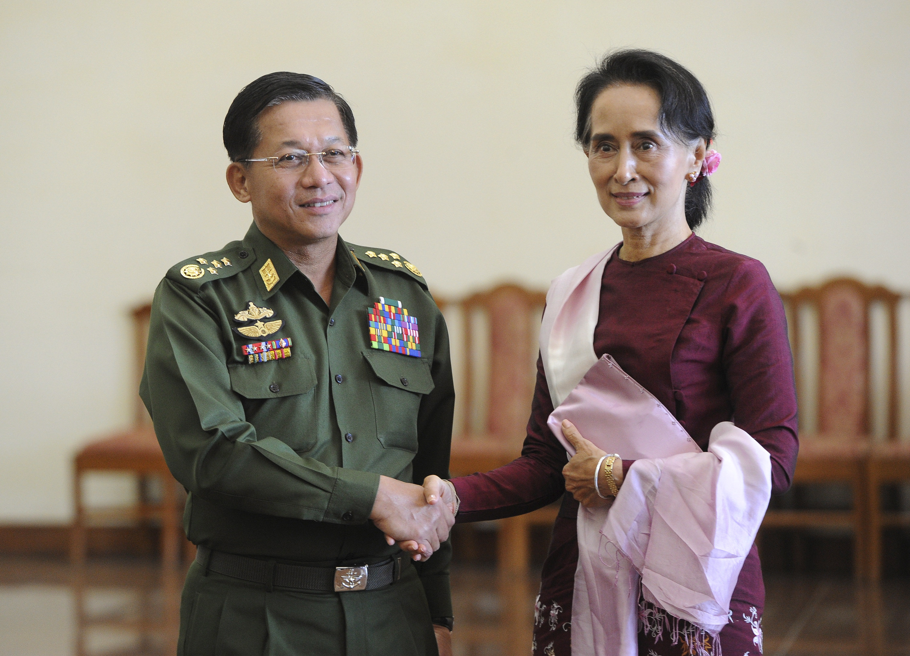Burma's Commander in Chief Min Aung Hlaing and National League for Democracy (NLD) party leader Aung San Suu Kyi in Naypyidaw, Burma, on Dec. 2, 2015