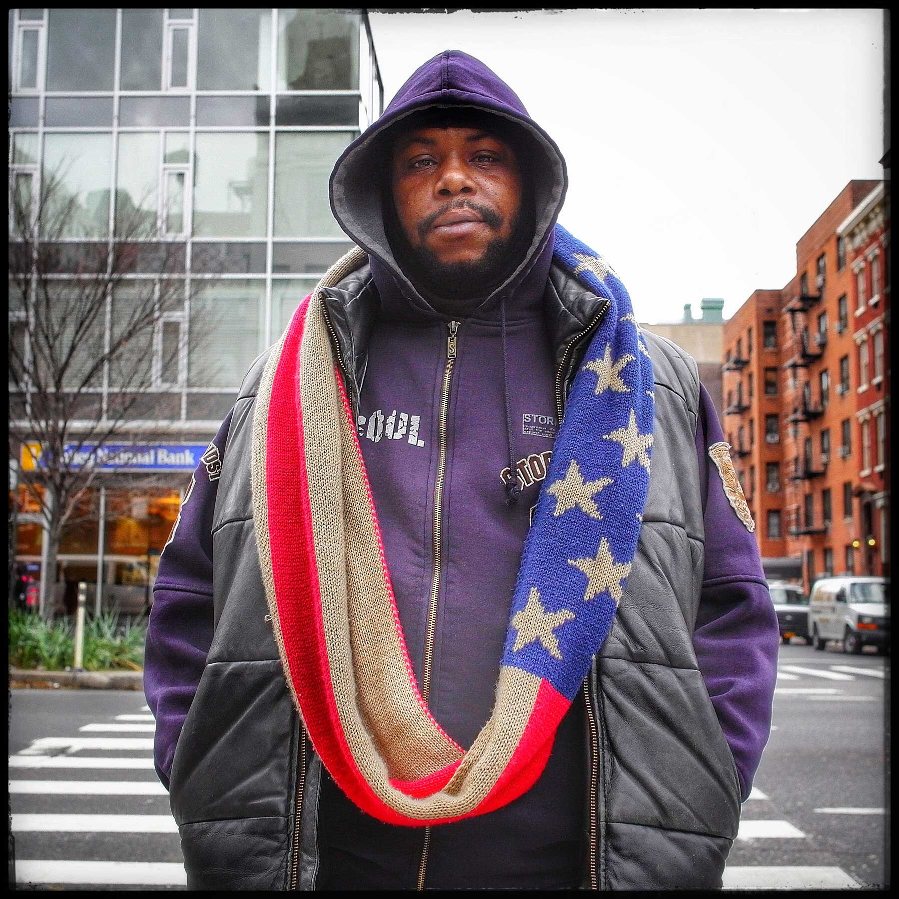 """The flag project was one born out of my need to find out why if blacks have been treated so poorly historically in this country, why do they wear the flag. The man I met on the streets of Manhattan said that """"This is my country, I was born here. I am a proud American."""""""