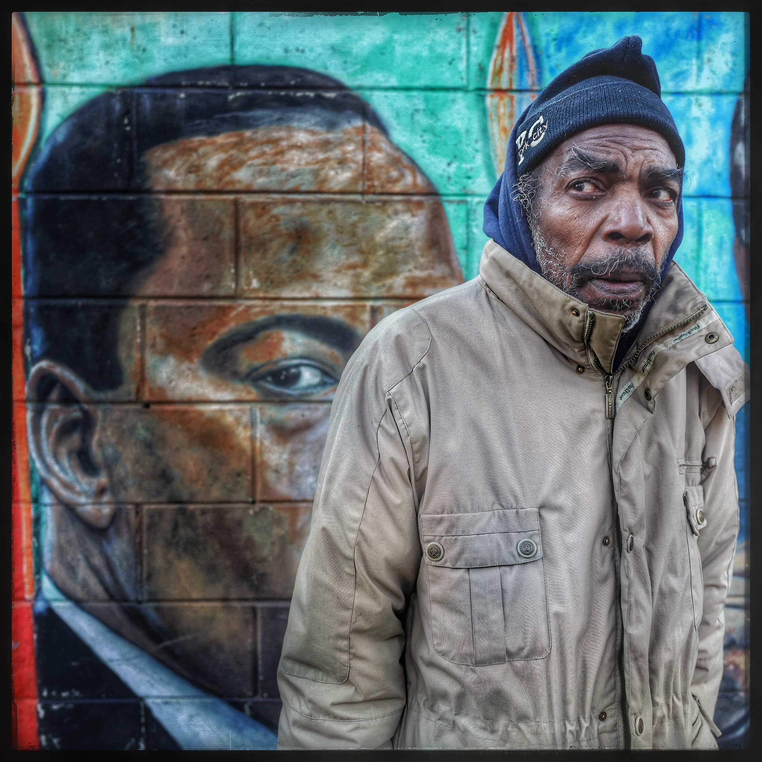 """This bed stuy native was asked how he felt about the assassination of Dr. King. I asked if he remembered anything about the story when he was growing up. """"I don't remember much about that day. I just can't remember but I still think he is still here."""" What do you mean, I asked, """"We are still here aren't we, they haven't been able to kill us all yet."""""""
