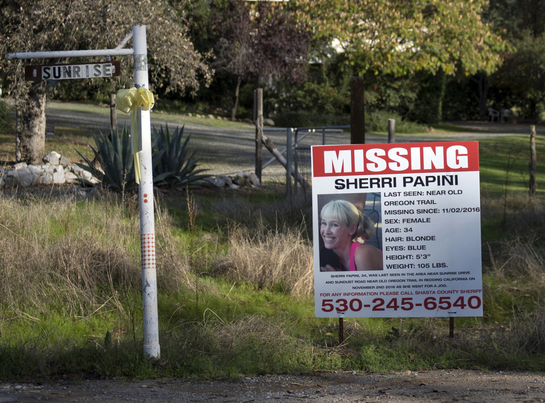 A  missing  sign for Mountain Gate, CA, resident Sherri Papini, on Nov. 10, 2016.