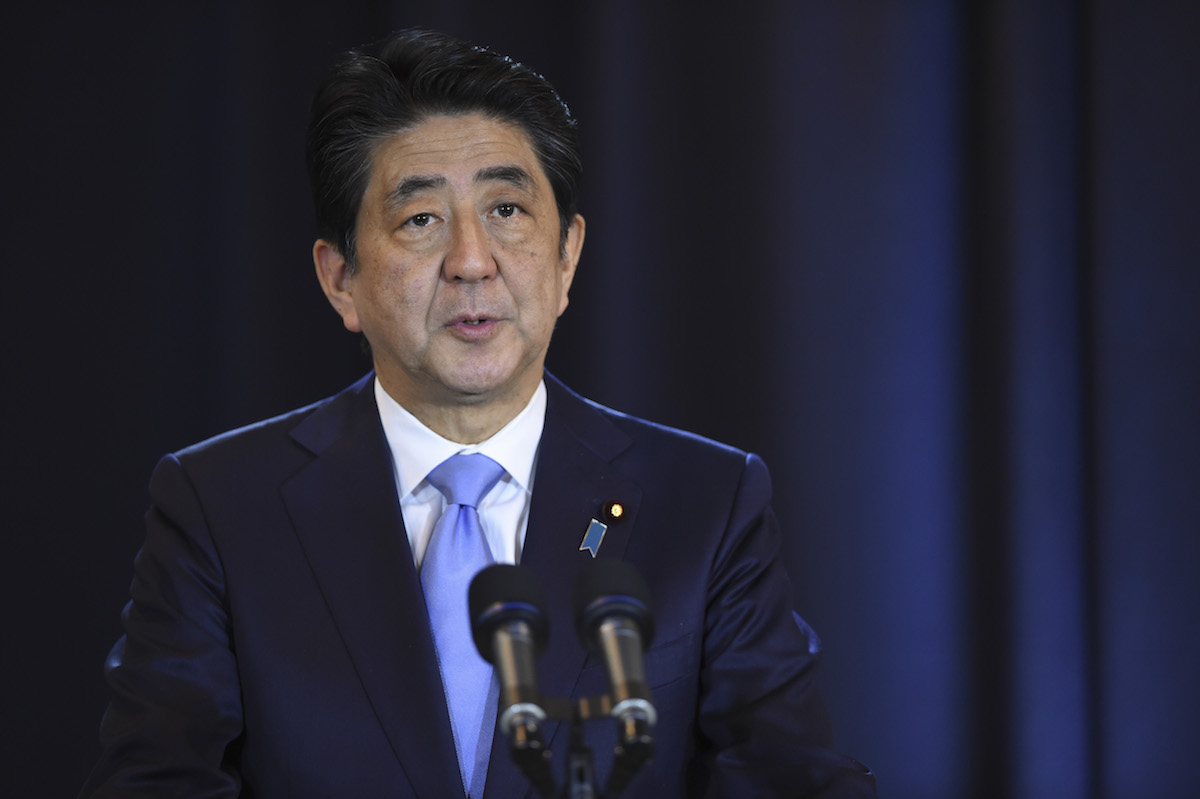 Japanese Prime Minister Shinzo Abe speaks during a press conference in Buenos Aires on Nov. 21, 2016.