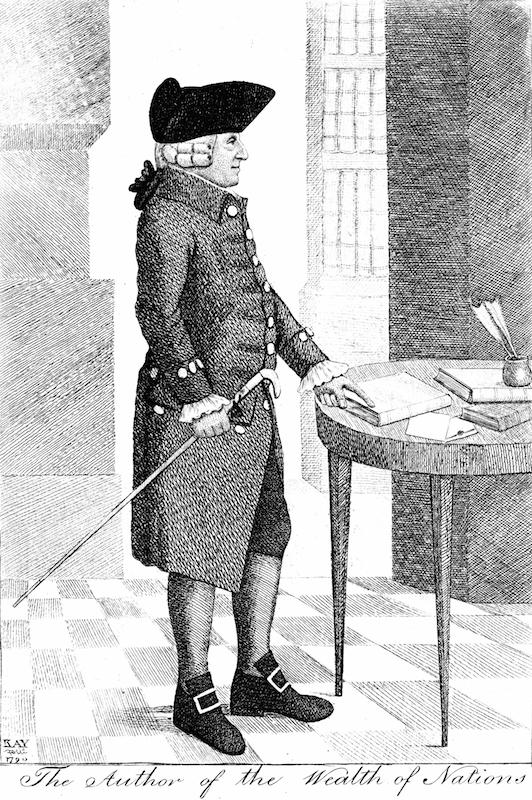 An 18th-century illustration of Adam Smith (1723-1790), Scottish philosopher and economist.