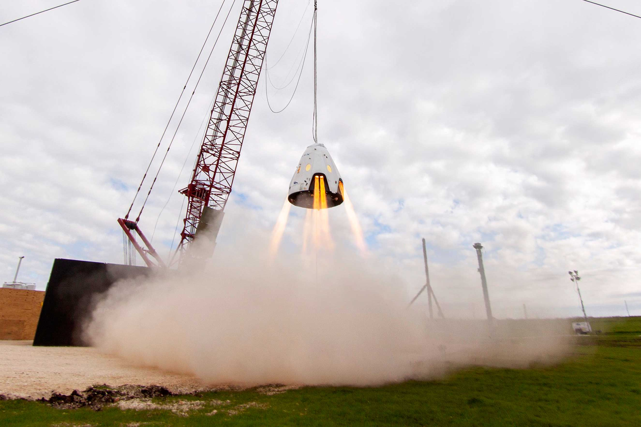 A test of the Dragon spacecraft's landing engines, which could be used in lieu of parachutes