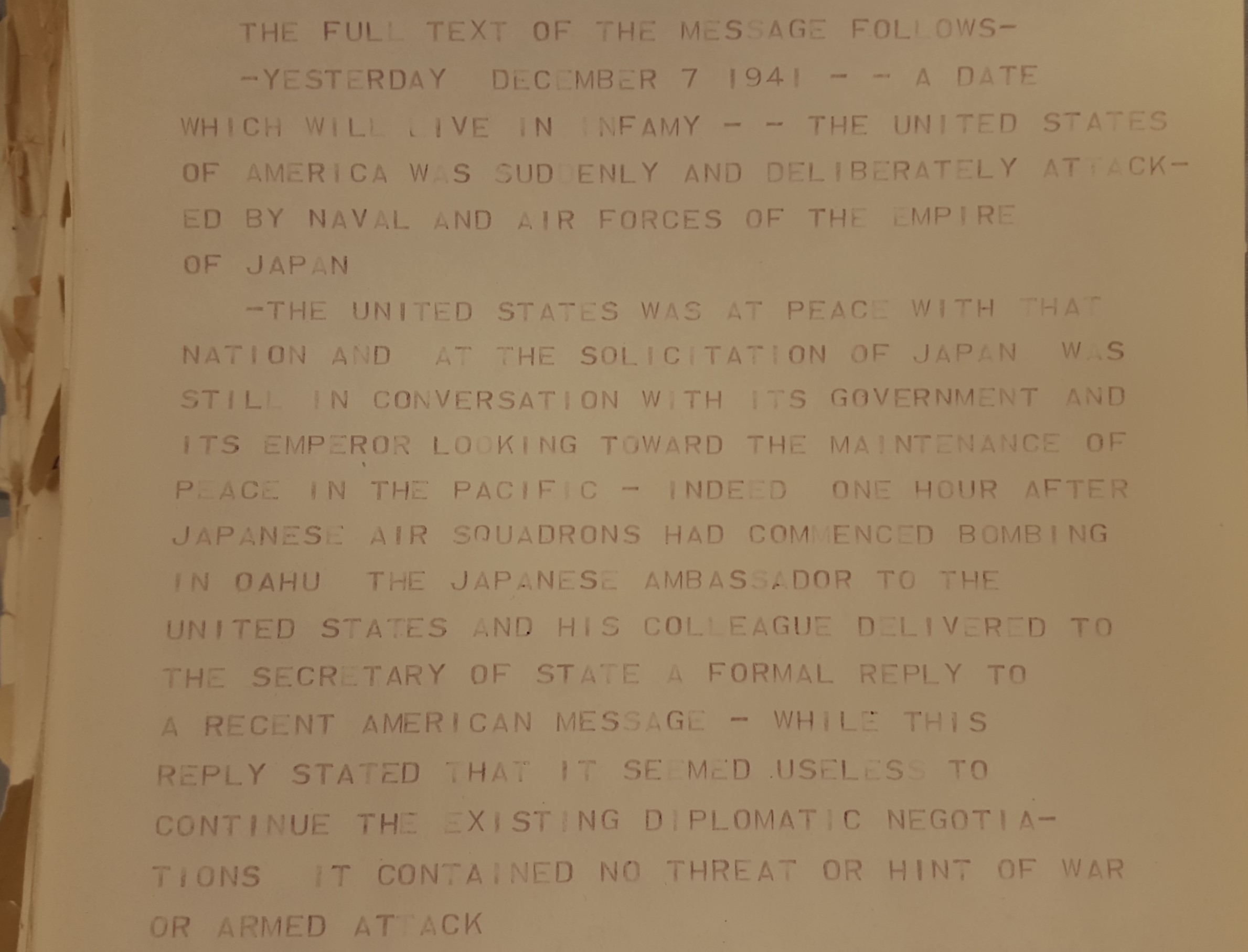 Close-up of a teletype copy of FDR's Pearl Harbor speech