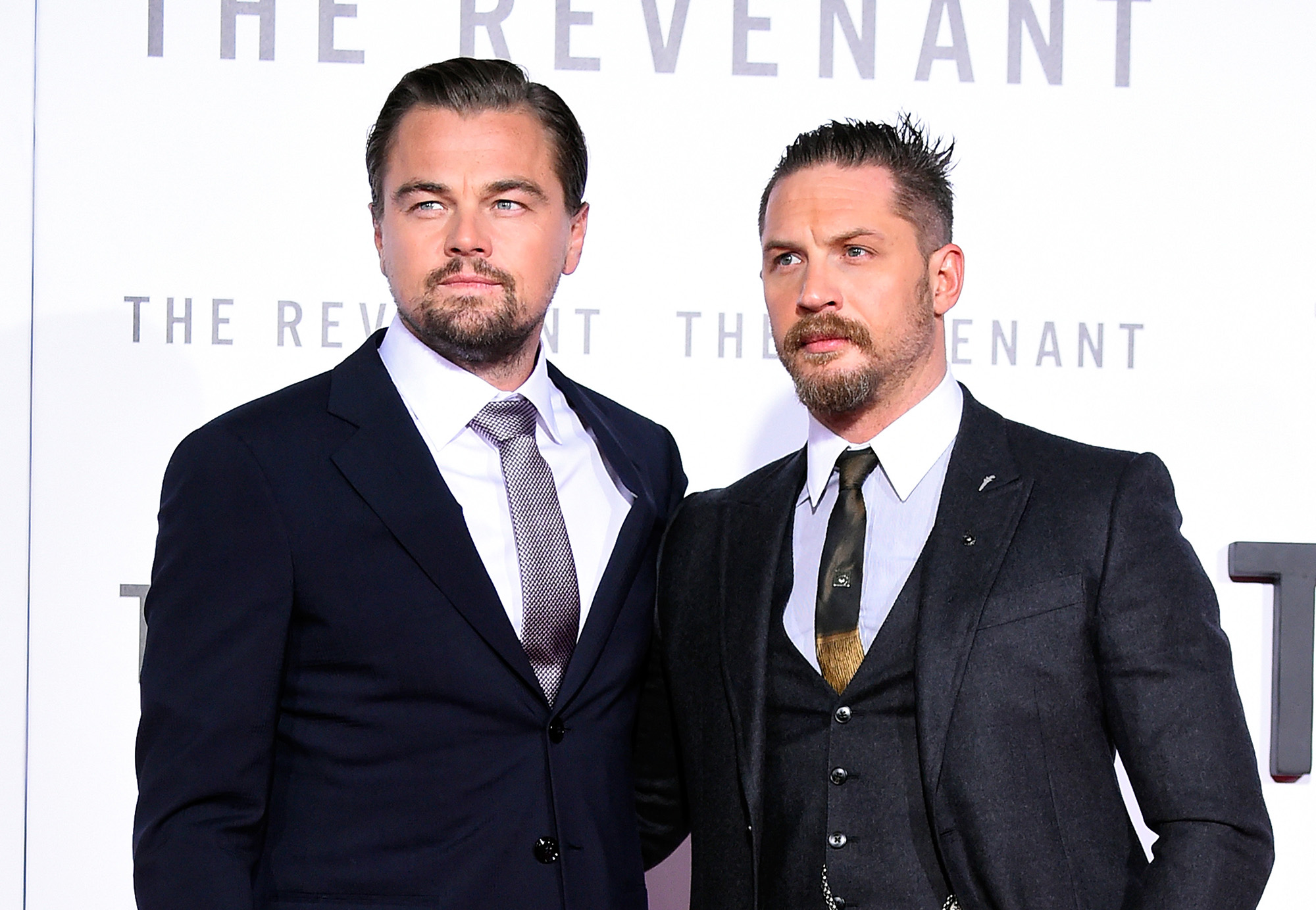 Leonardo DiCaprio and Tom Hardy attend the premiere of 20th Century Fox and Regency Enterprises'  The Revenant  on December 16, 2015 in Hollywood, California.  (Photo by Frazer Harrison/Getty Images)