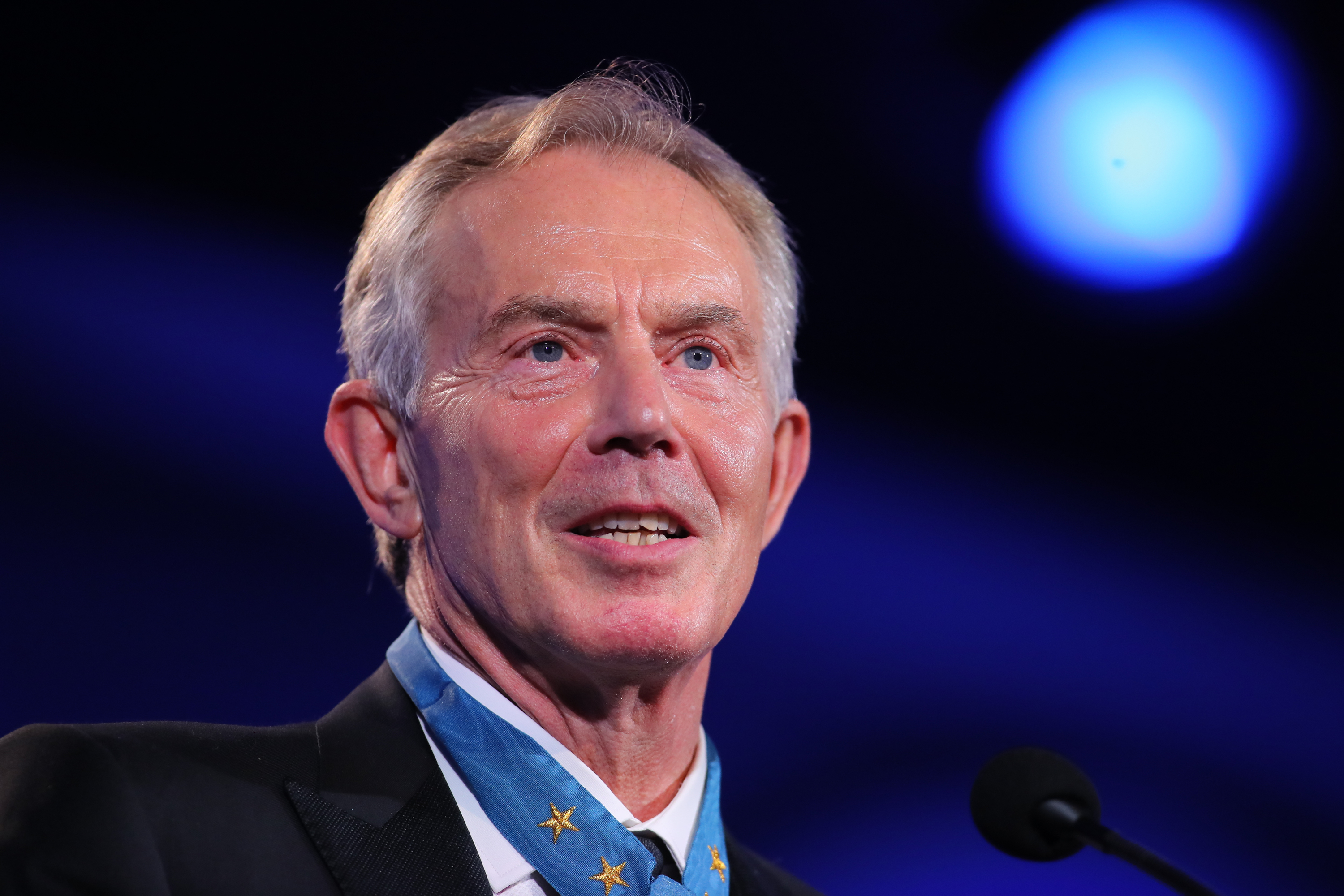 Former British Prime Minister Tony Blair at the 2016 Starkey Hearing Foundation  So the World May Hear  awards gala at the St Paul RiverCentre on July 17, 2016 in St Paul, Minnesota.