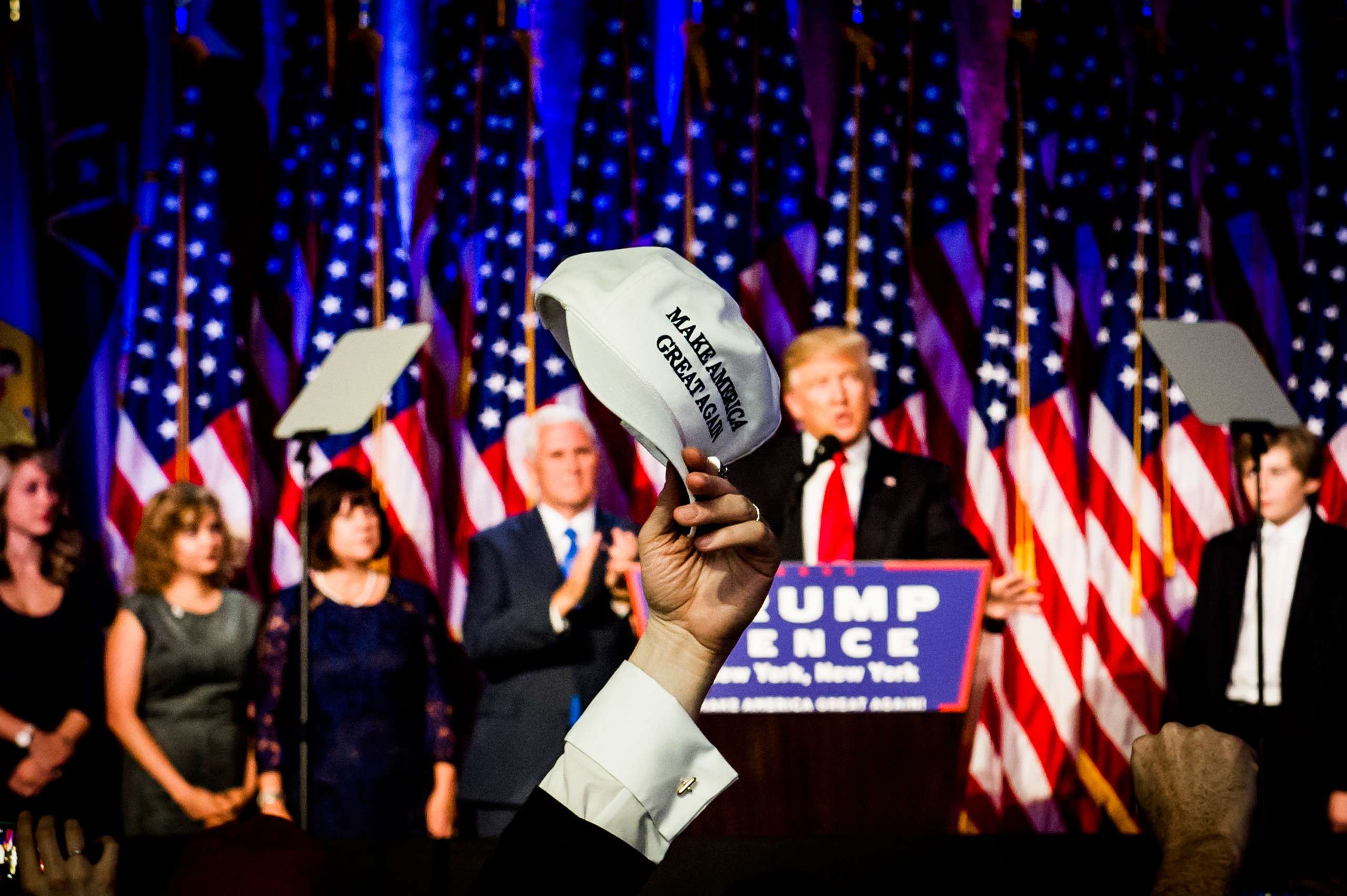 President-elect Donald Trump speaks during his Victory Party on Tuesday, Nov. 8, 2016 in New York's Manhattan borough.From  The 82 Most Unforgettable Photos From the Election